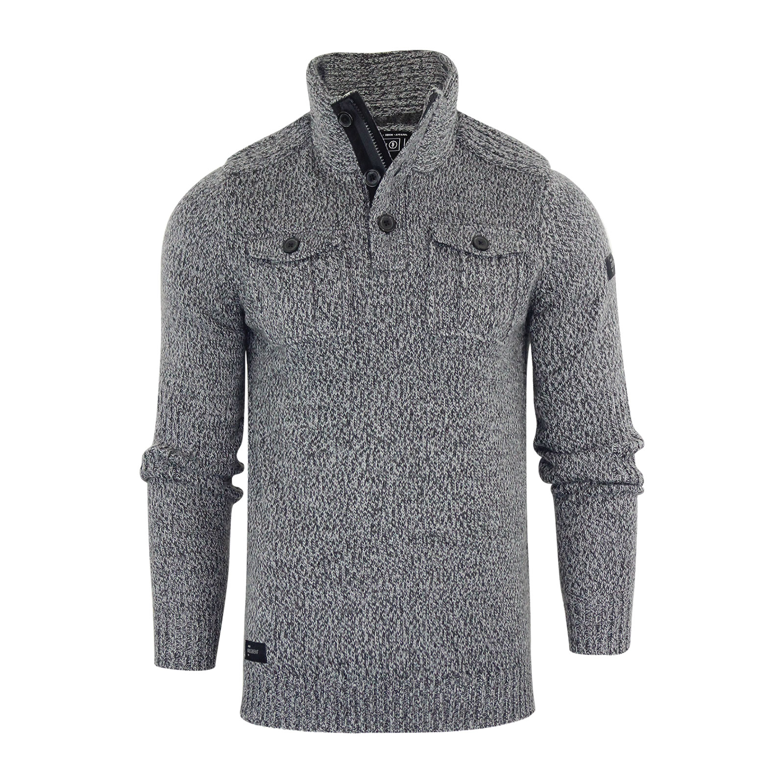 Mens Jumper Dissident Hardy Wool Mix Twist Knitted 1/4 Zip Button ...
