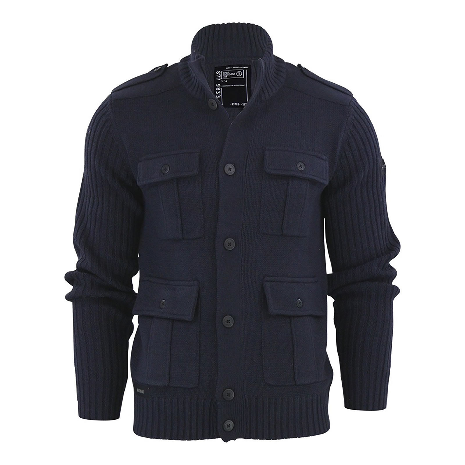 Mens Cardigan Jumper Dissident Brooke Button Up Funnel Neck ...
