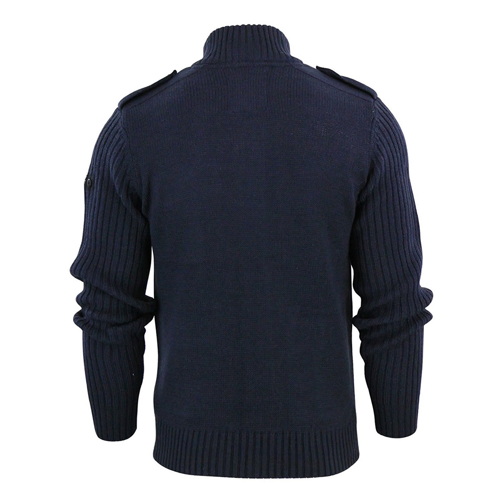 Mens Cardigan Jumper Dissident Brooke Button Up Funnel Neck Sweater