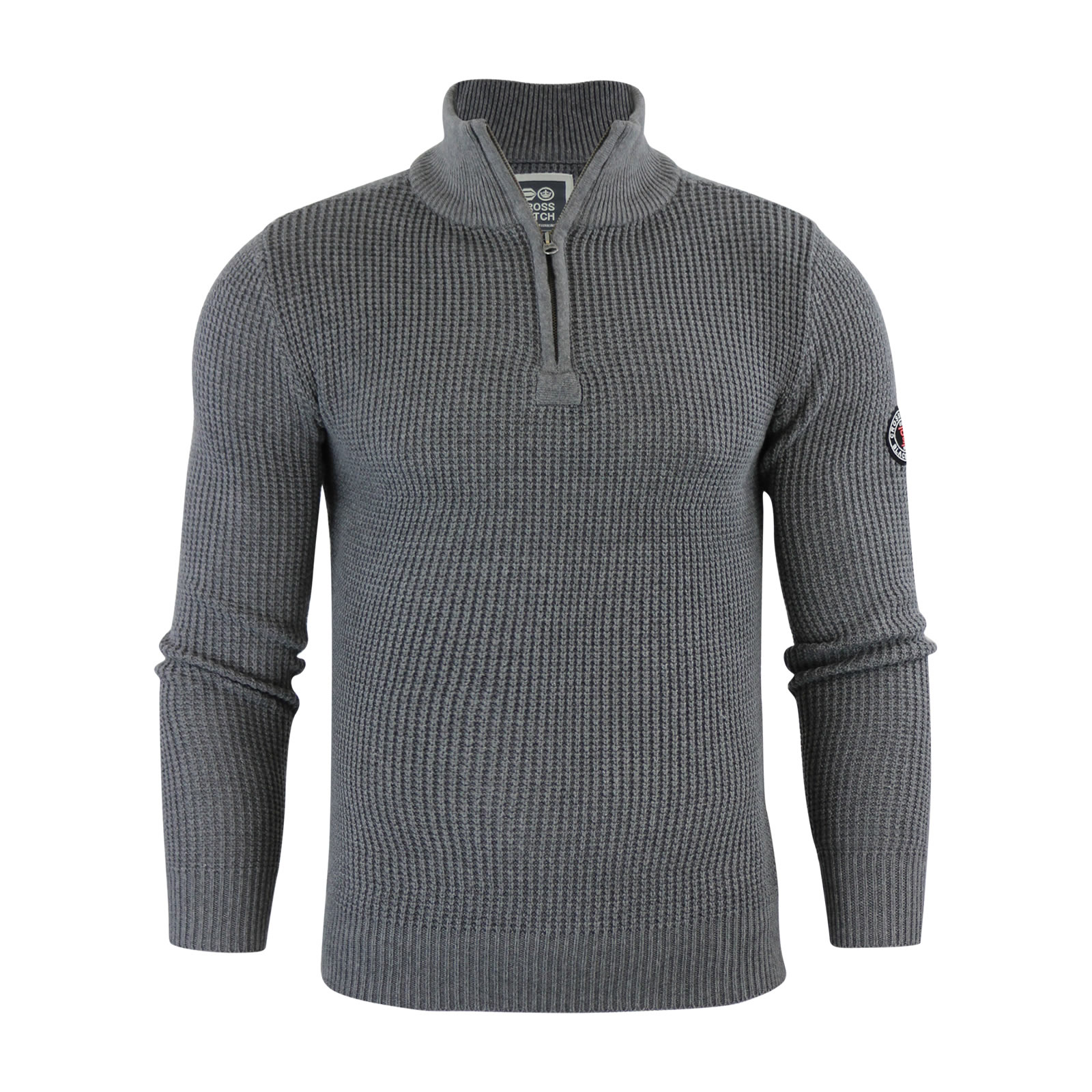 Mens Jumper Crosshatch General Waffle Knitted Crew Neck Wool Mix Sweater eBay