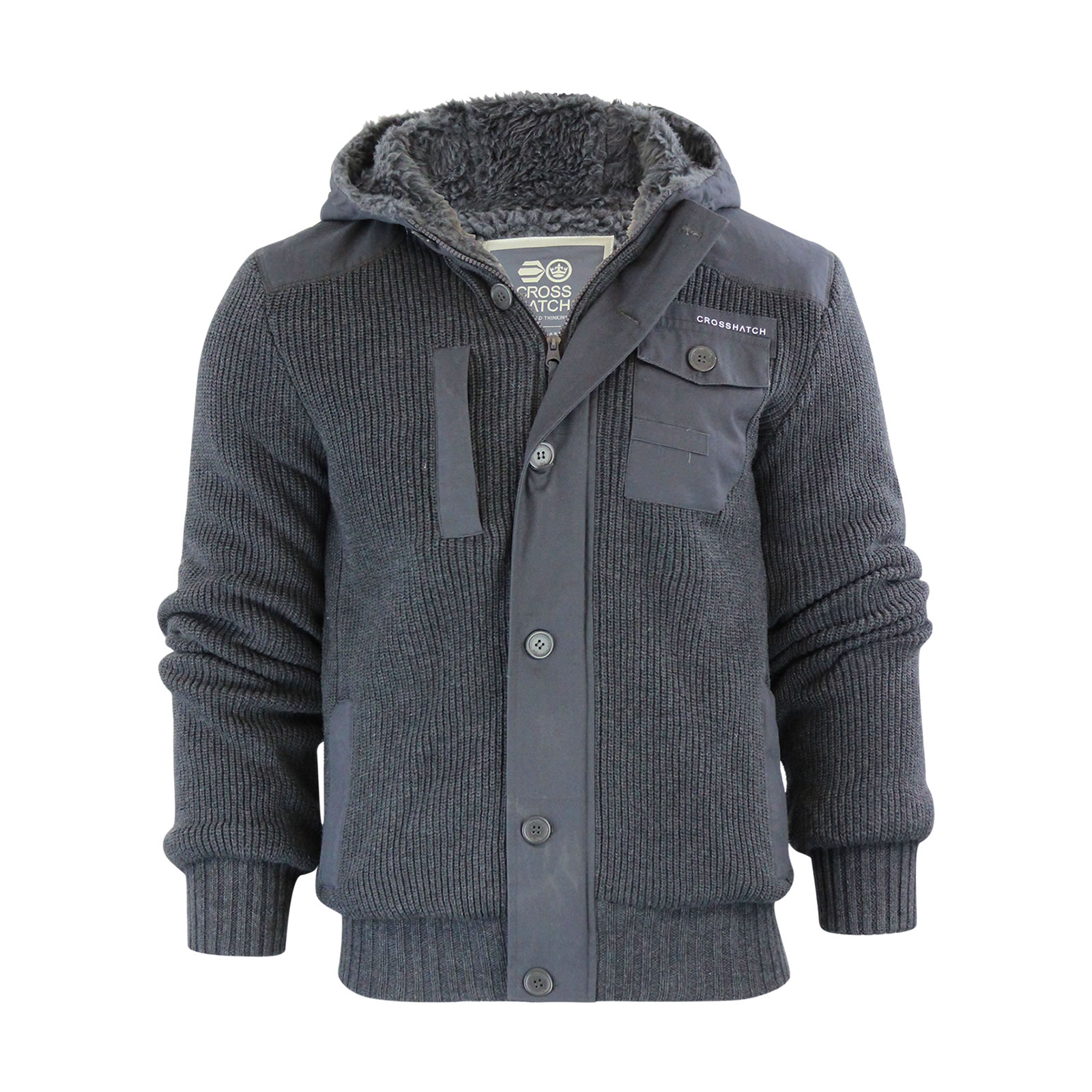 Mens Hooded Cardigan Crosshatch Charnock Heavy Knitted Hoodie ...