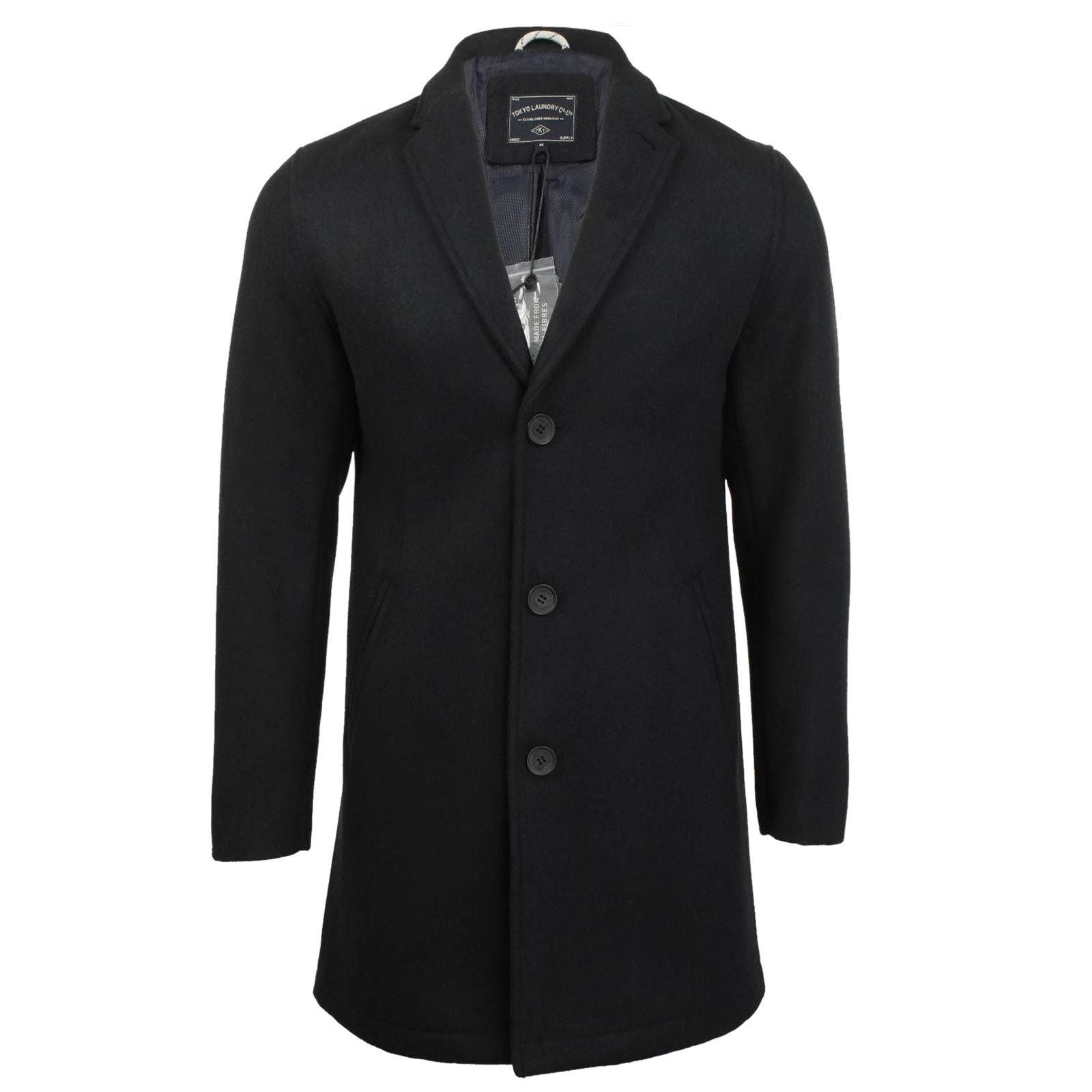 Mens Overcoat Jacket Tokyo Laundry Bezout Long Wool Mix Coat | eBay