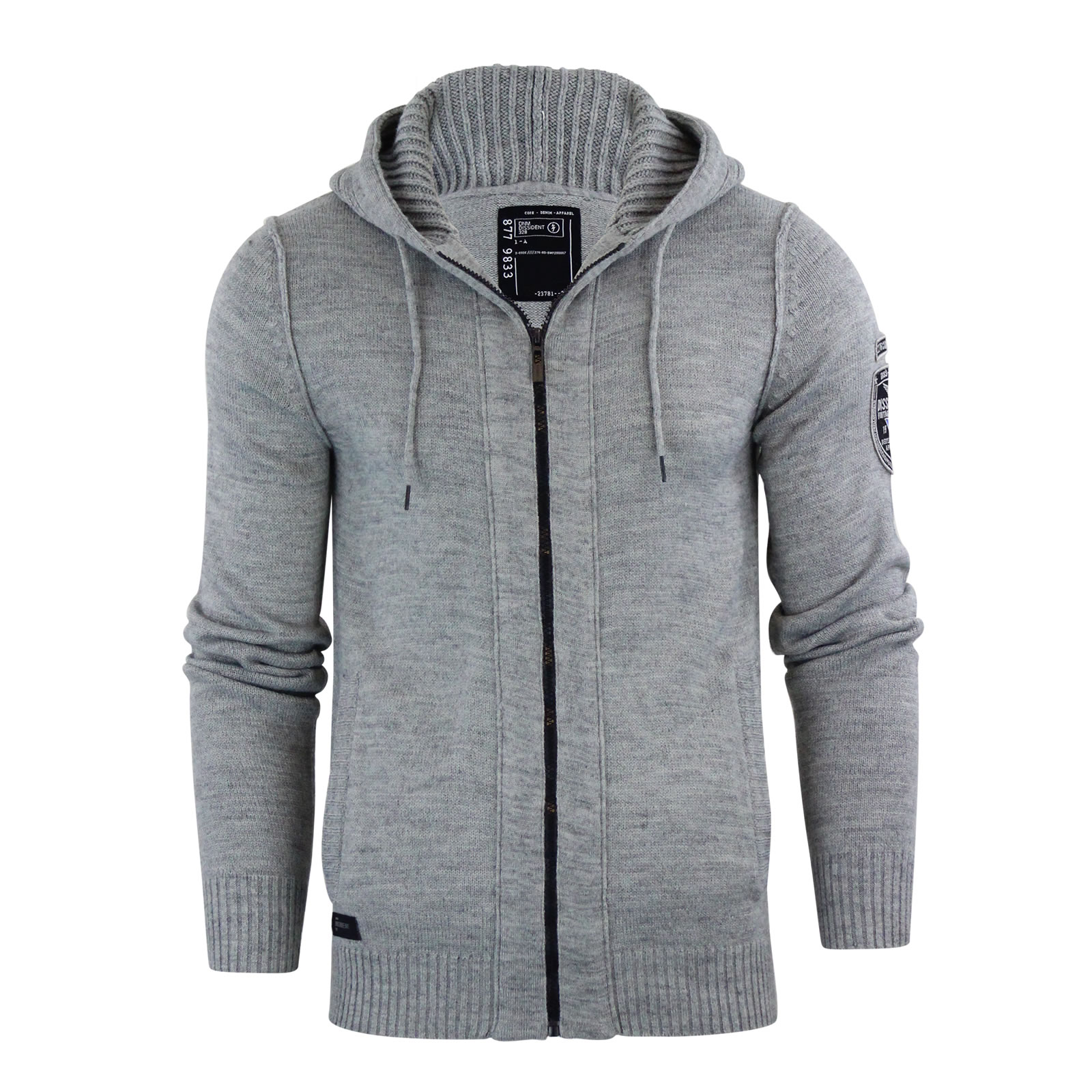 Mens Hooded Cardigan Dissident Zissou Zip Up Wool Mix Jumper ...