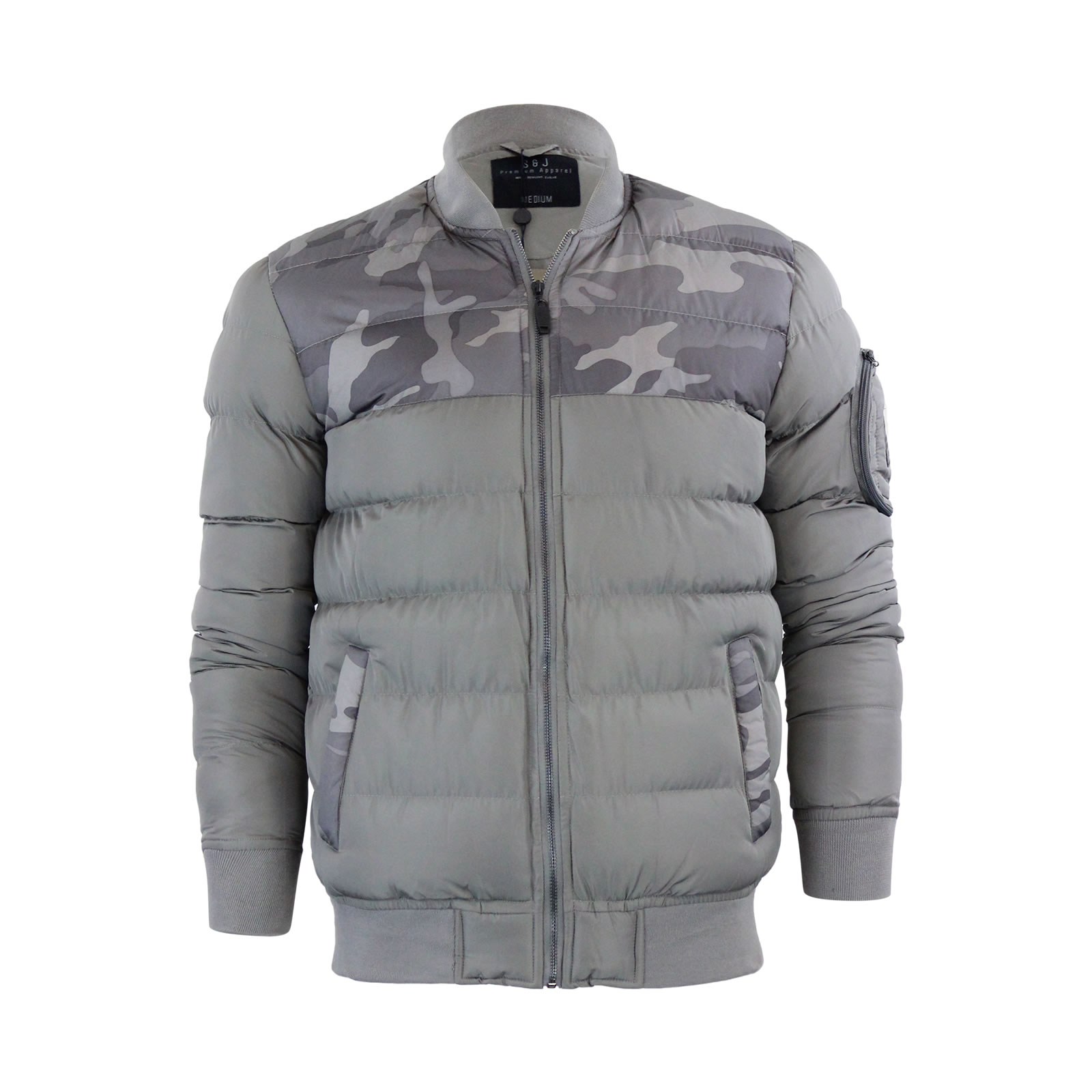 fcad3be2f Details about Mens Jacket Smith & Jones Stavkirke Camo Panel Bubble Puffer  Coat