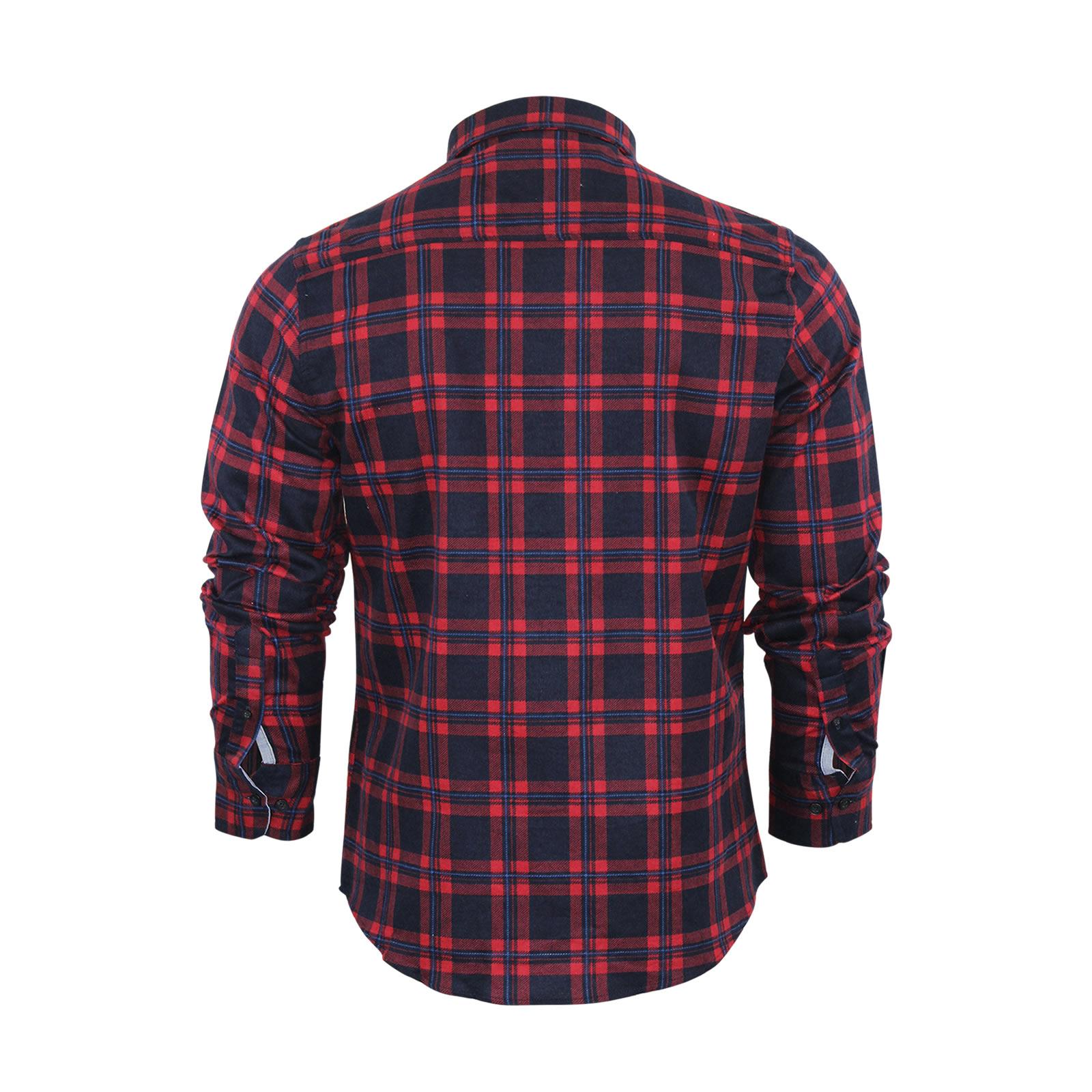 Mens check shirt brave soul flannel brushed cotton long for Men s lightweight flannel shirts