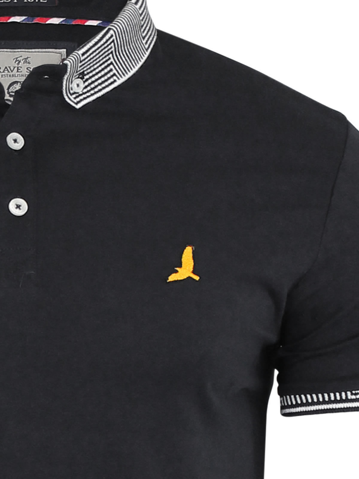 Mens polo t shirt brave soul glover cotton collared short for Men s athletic polo shirts