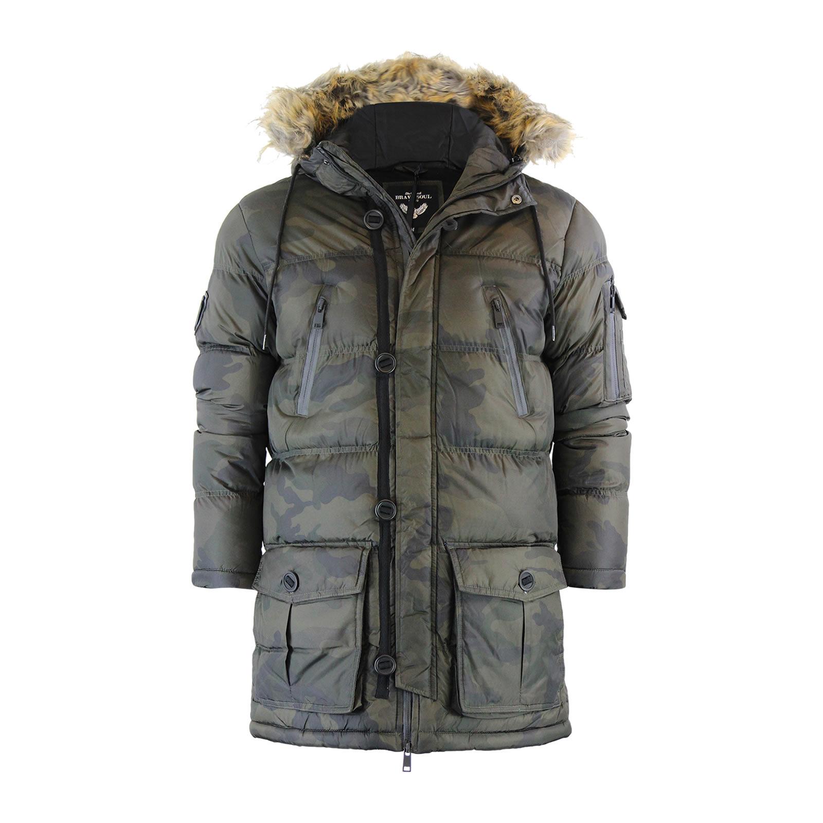 Mens parka jacket with fur