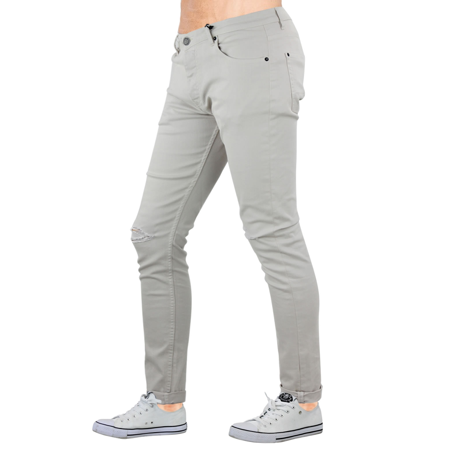 Mens Skinny Jeans Brave Soul Akito Stretch Ripped Roll Up Denim ...