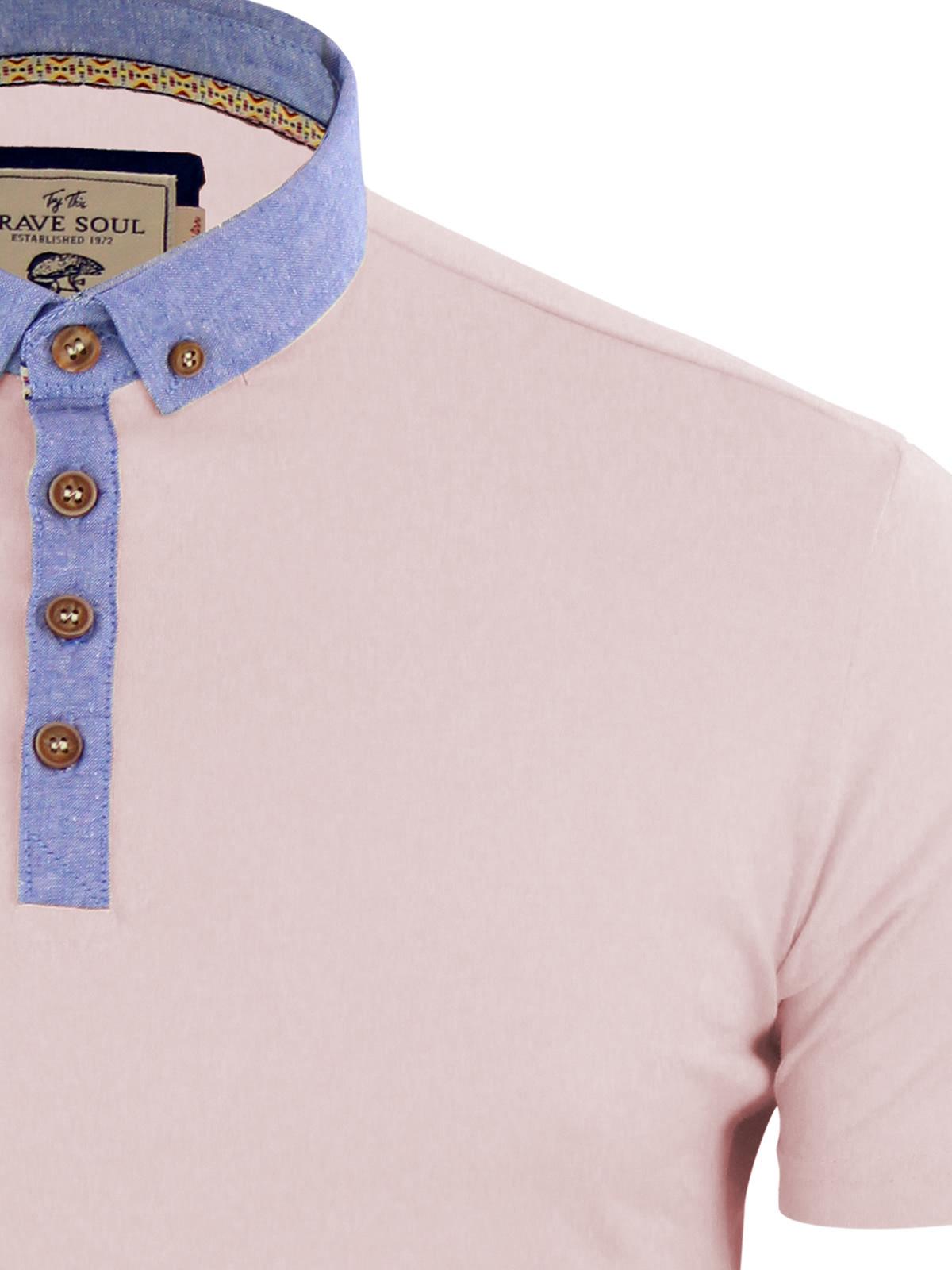 Mens-Polo-T-Shirt-Brave-Soul-Chimera-Chambray-Collared-Cotton-Casual-Top thumbnail 31