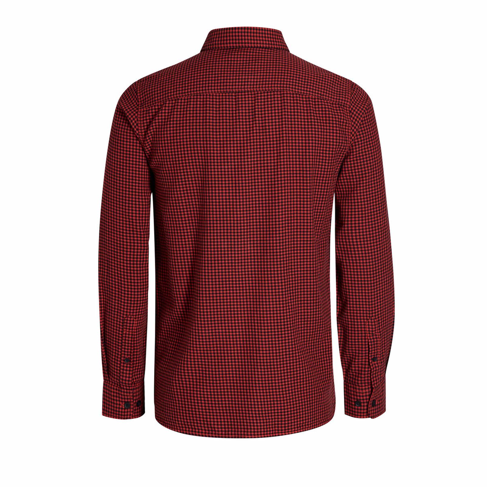 Mens-Check-Shirt-JACK-amp-JONES-Johan-Long-Sleeve-Collared-Cotton-Casual-Shirt thumbnail 3