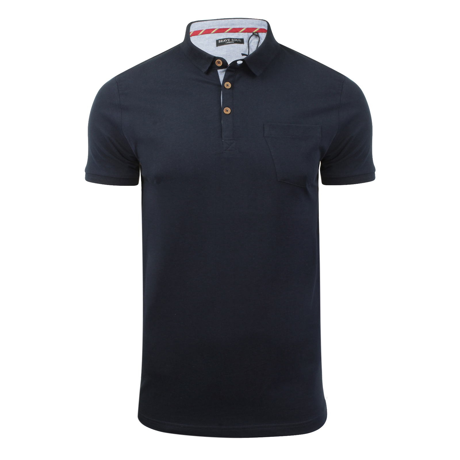Mens polo t shirt brave soul julius cotton collared short for Mens casual collared shirts