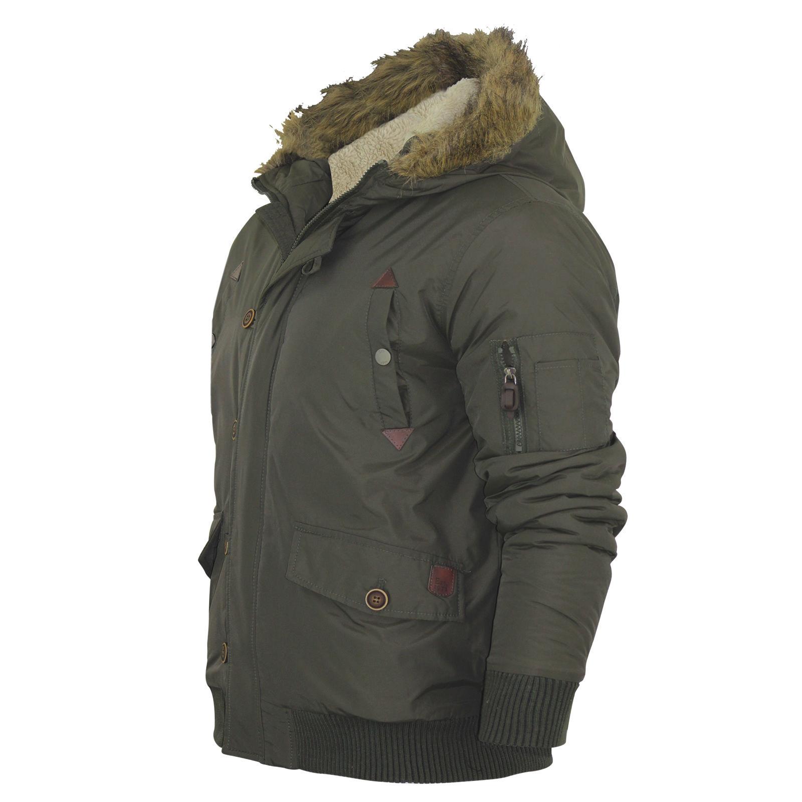 Mens Bomber Jacket Brave Soul Davies Nylon Taslan Fur Trim Hooded ...