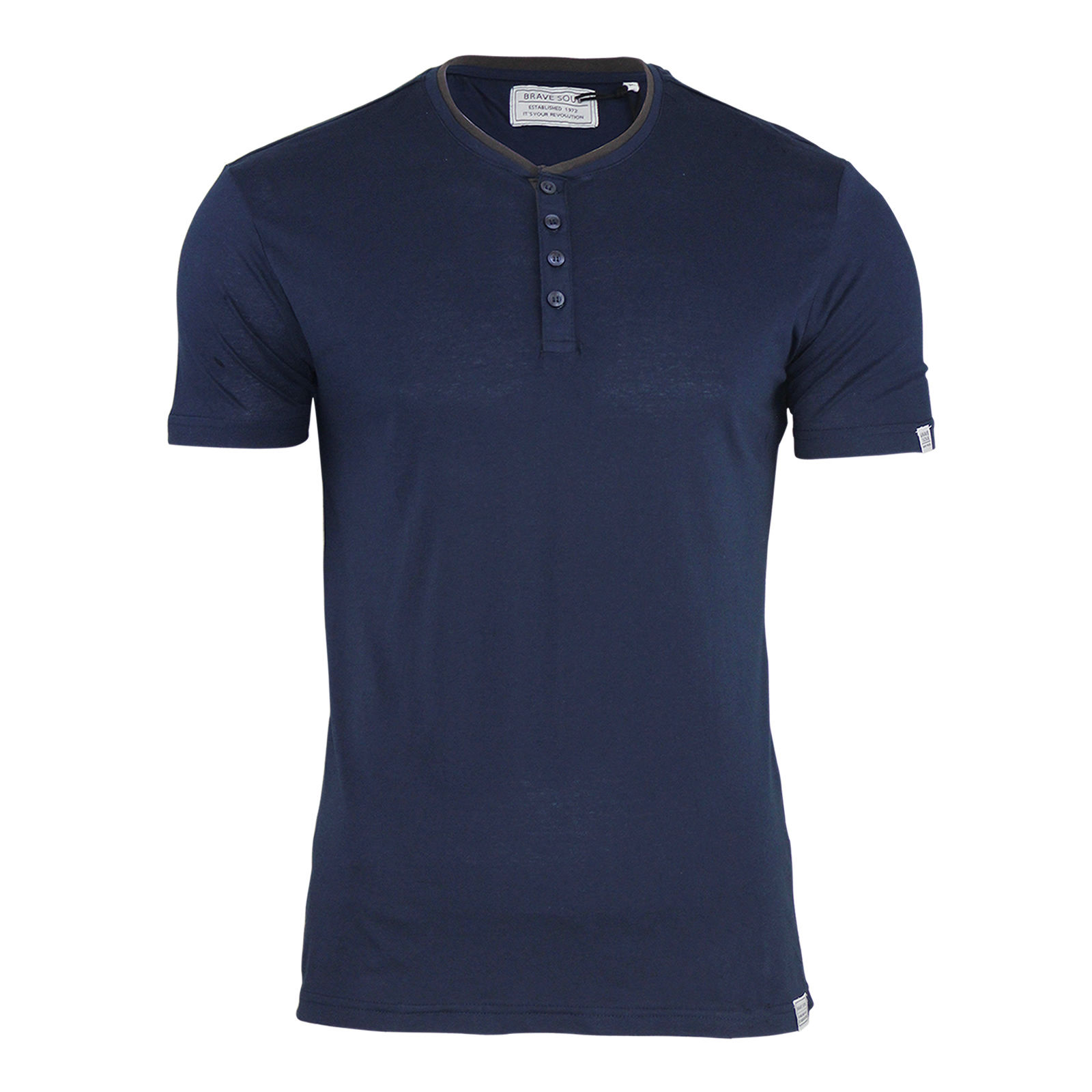 Mens T Shirt Brave Soul Walch Grandad Button Up Neck Short Sleeve Casual Top
