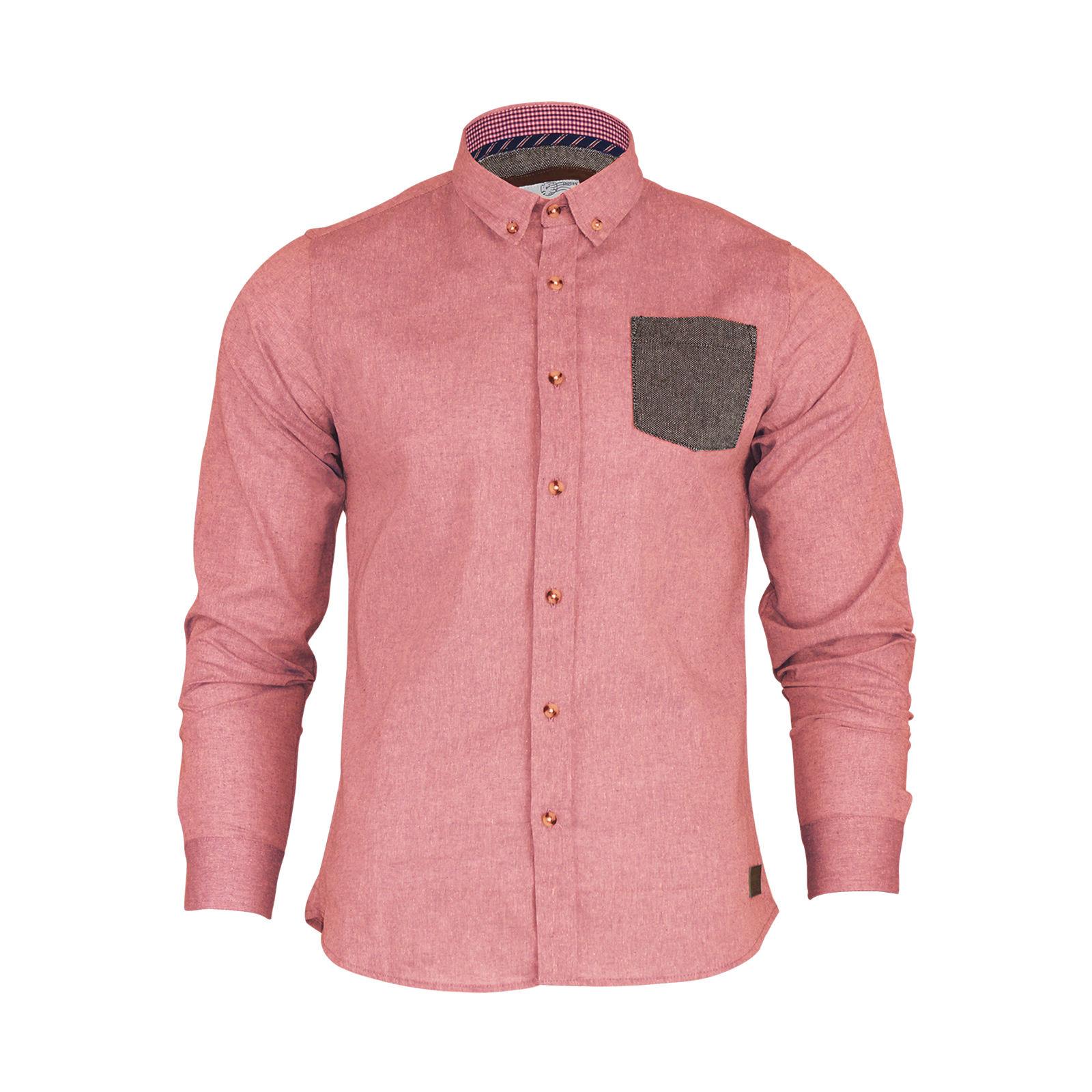 Mens Shirt Brave Soul Kafka Long Sleeve Tweed Pocket