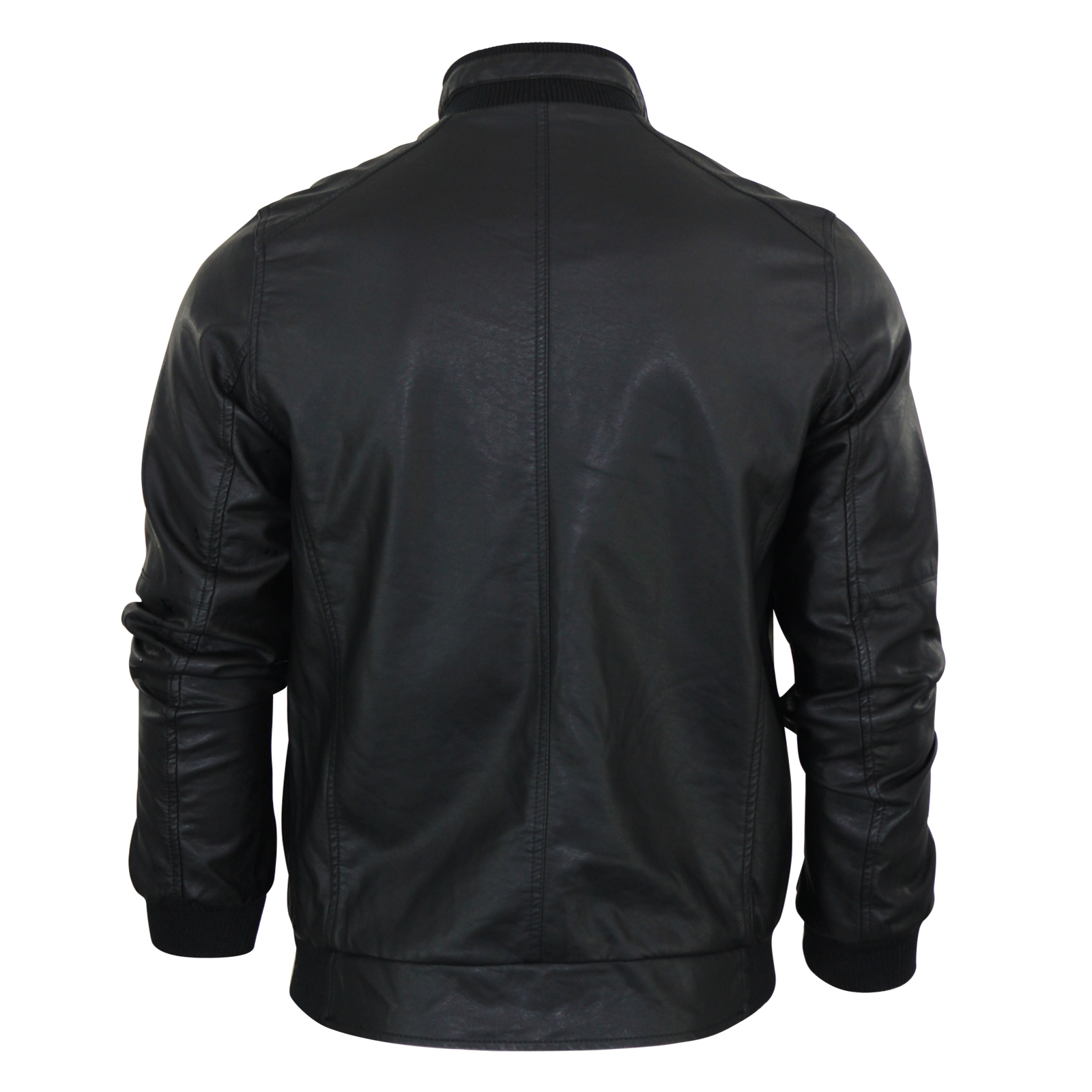 Mens Jacket Brave Soul Leroy PU Leather Look Harrington Retro