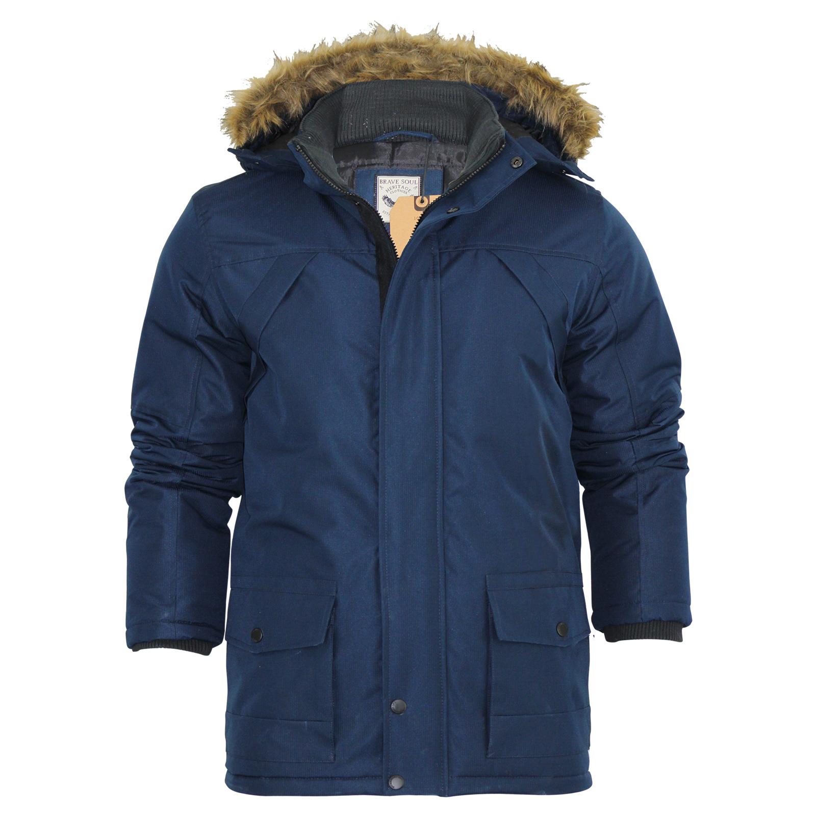 Mens Parka Jacket Brave Soul Aberdeen Ripstop Heavy Padded Fur ...