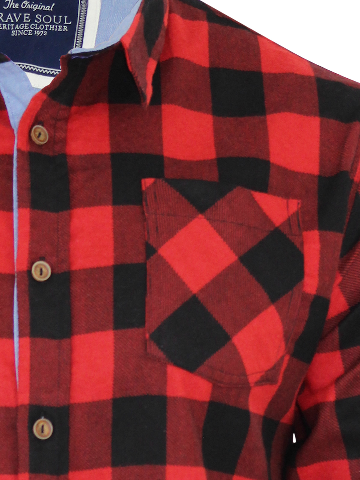 Mens-Check-Shirt-Brave-Soul-Jack-Flannel-Brushed-Cotton-Long-Sleeve-Casual-Top thumbnail 4