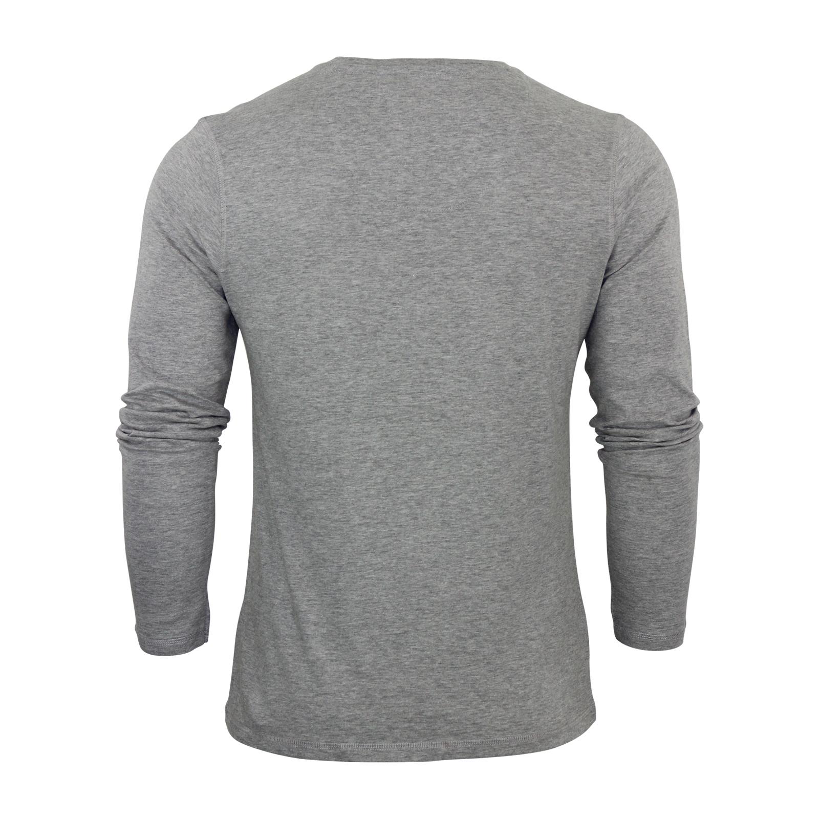 Mens t shirt brave soul nova cotton mock v neck long for Mock long sleeve t shirts