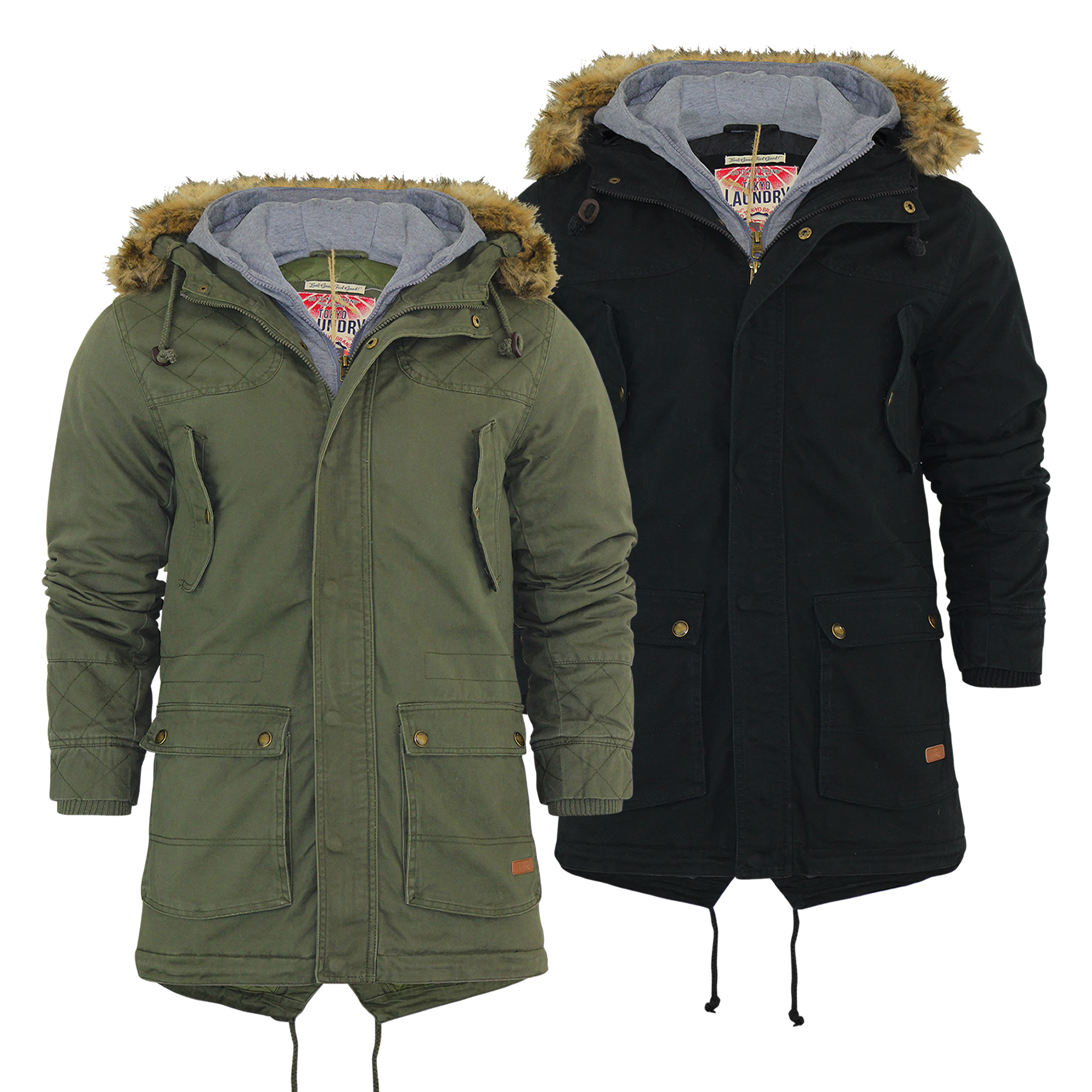 Mens Parka Jacket Tokyo Laundry Kronen Mock Hoodie Fur Lined ...