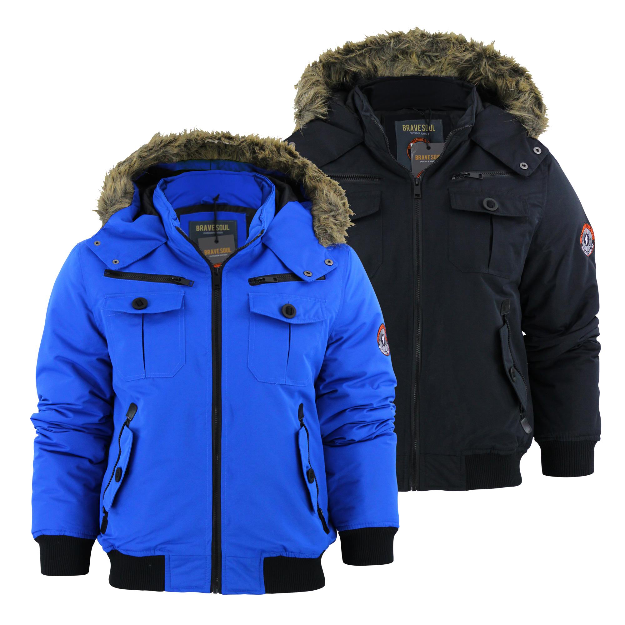 Mens Jacket Brave Soul Trek Fur Hooded bomber Heavy Padded Winter ...