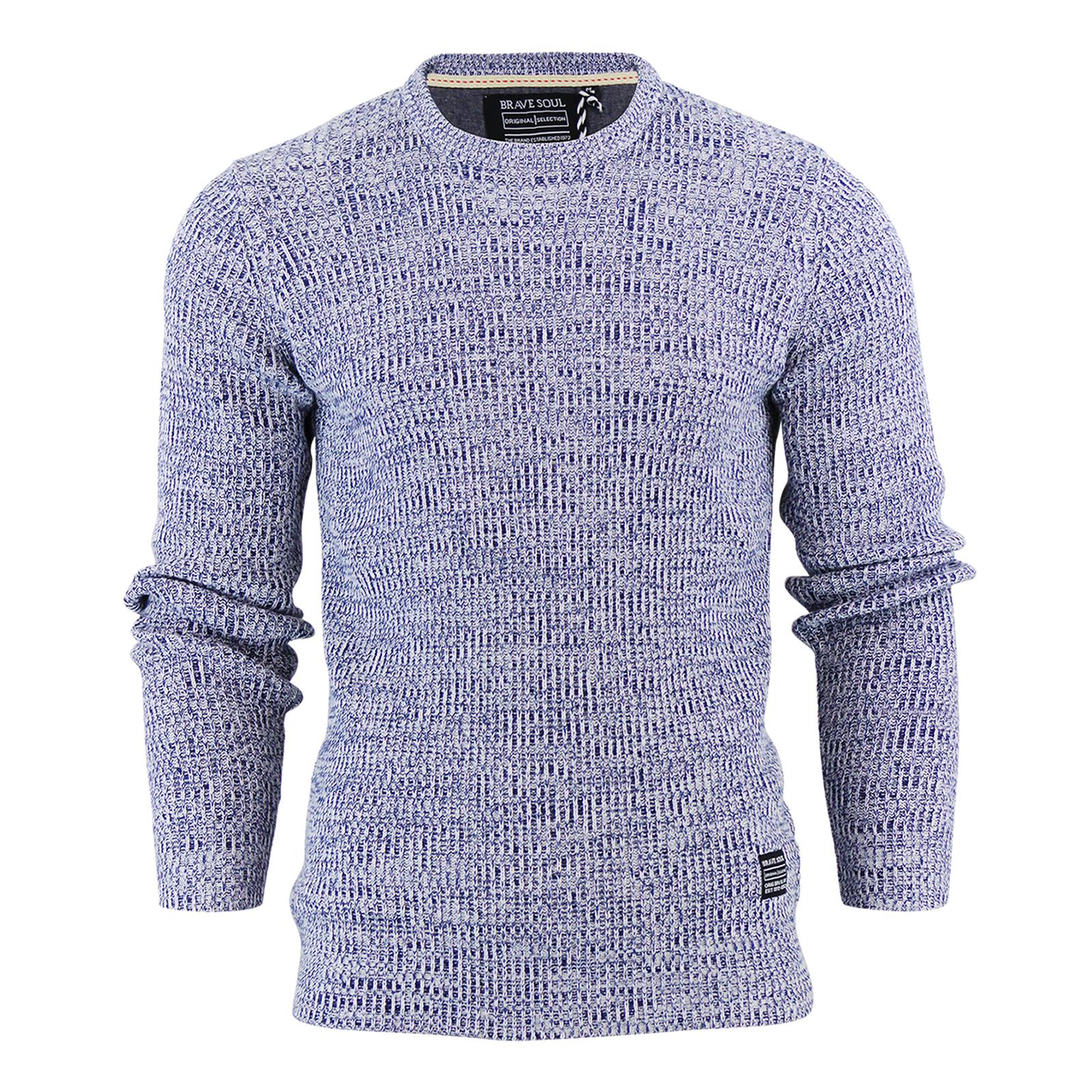 Knitting Pattern Crew Neck Jumper : Mens Jumper Brave Soul Gomez Cotton Crew Neck Knitted Sweater eBay