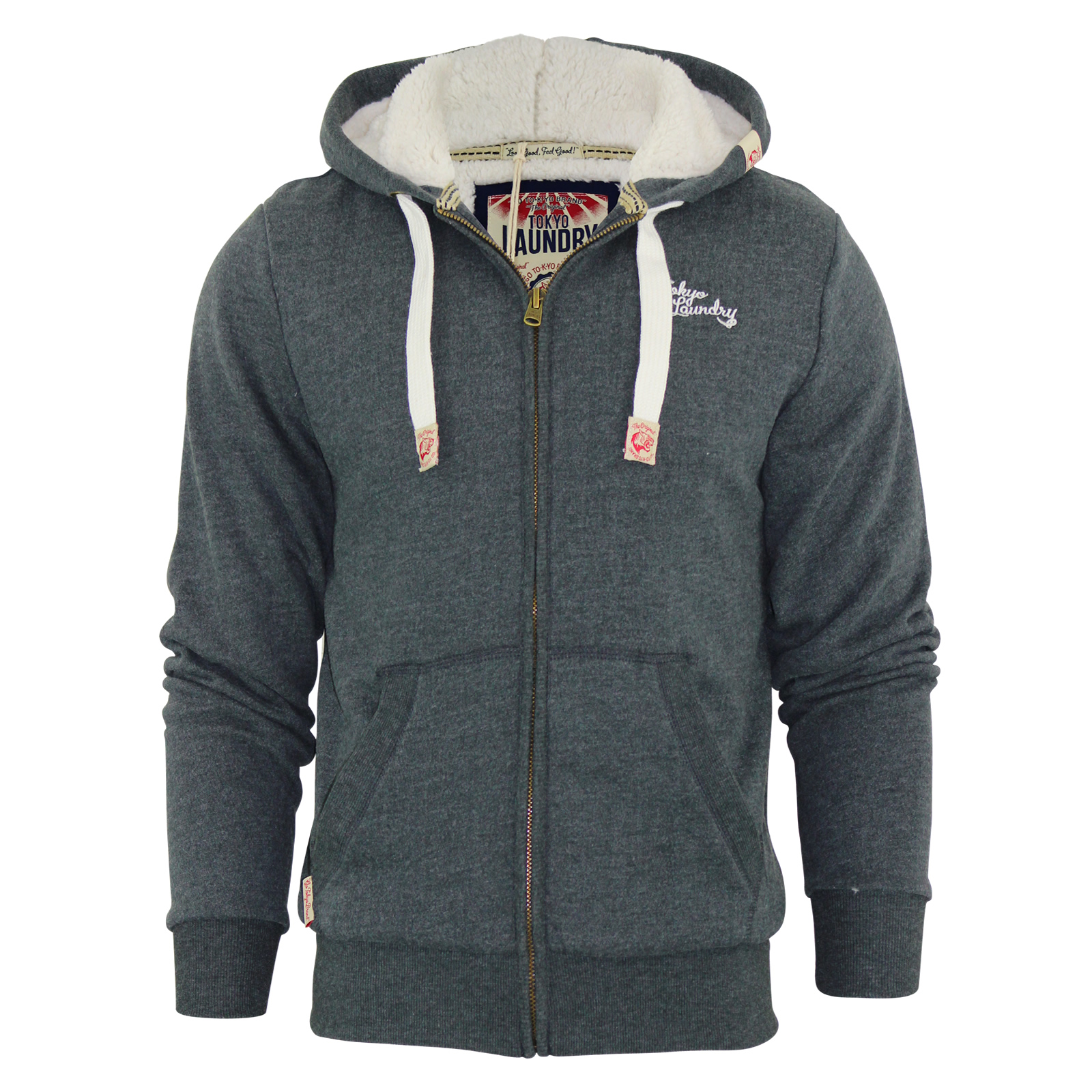 Mens Hoodie Tokyo Laundry Norwood Sherpa Fleece lined Hooded ...