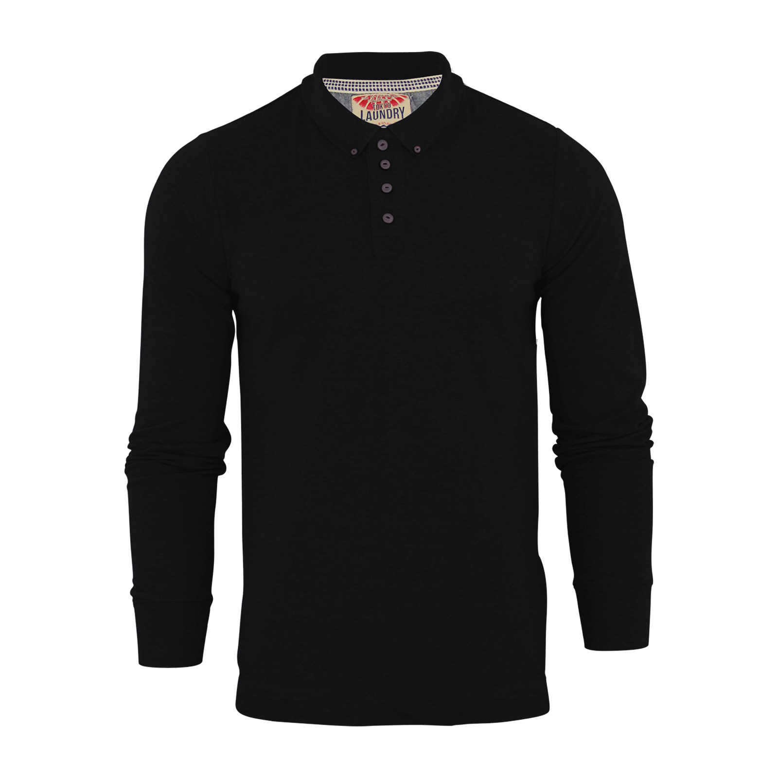 Mens polo t shirt tokyo laundry lowell cotton long sleeve for Mens collared t shirts