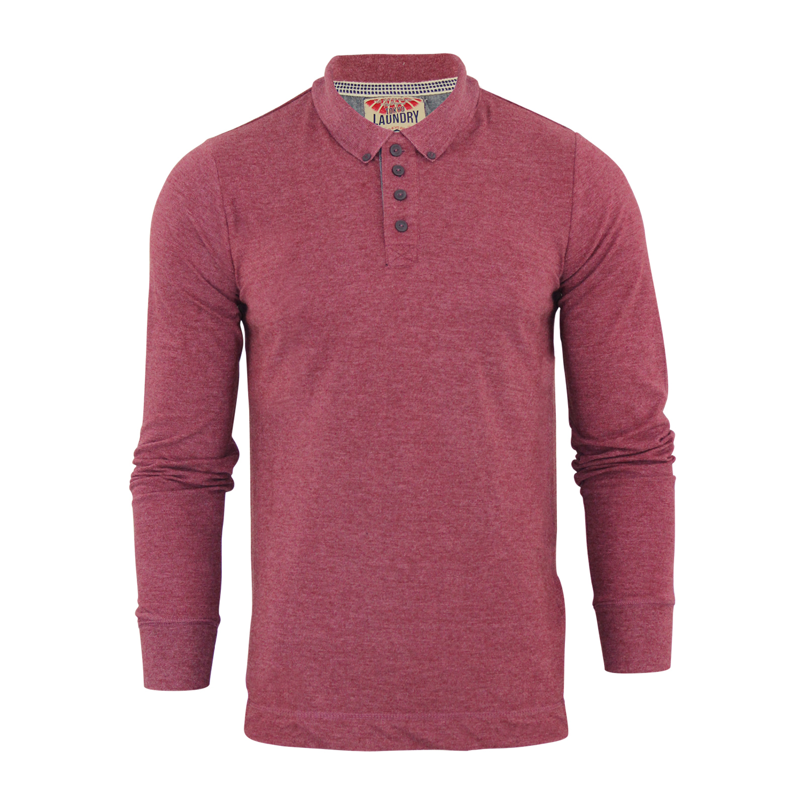 Mens polo t shirt tokyo laundry lowell cotton long sleeve for Mens long sleeve casual cotton shirts