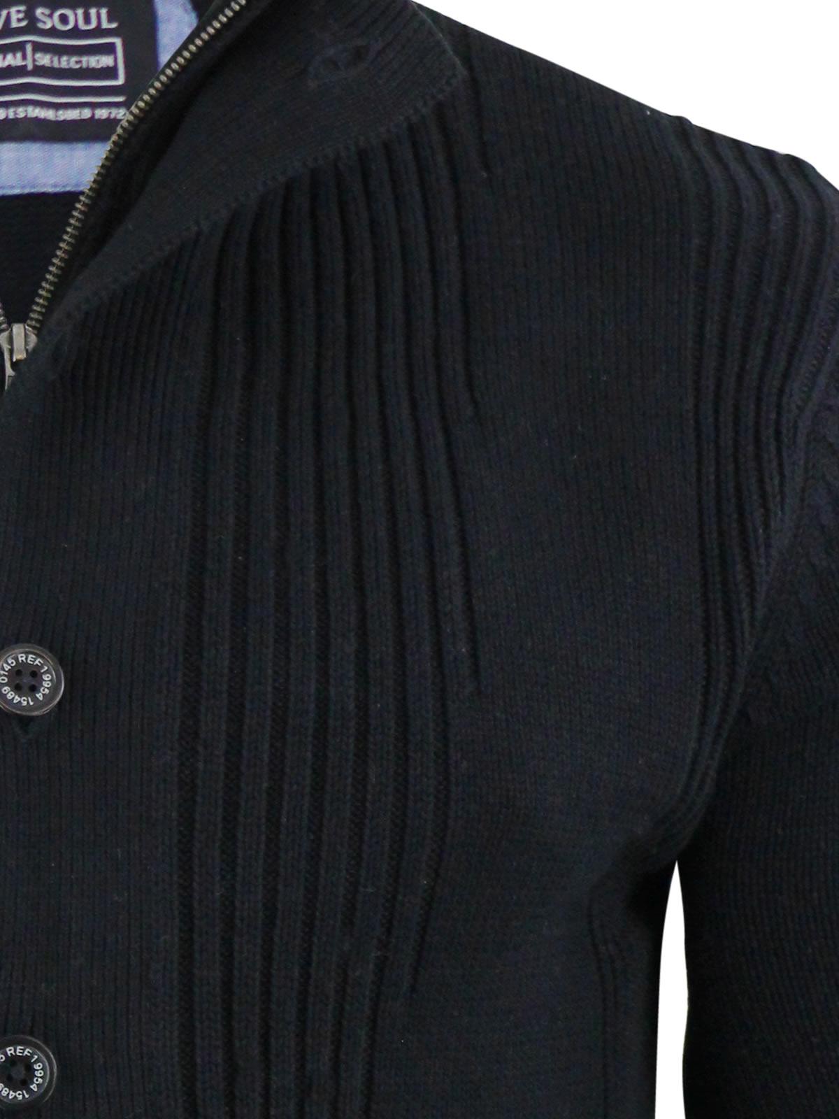 Mens Cardigan Jumper Brave Soul Mira Cotton Zip & Button Up Funnel ...