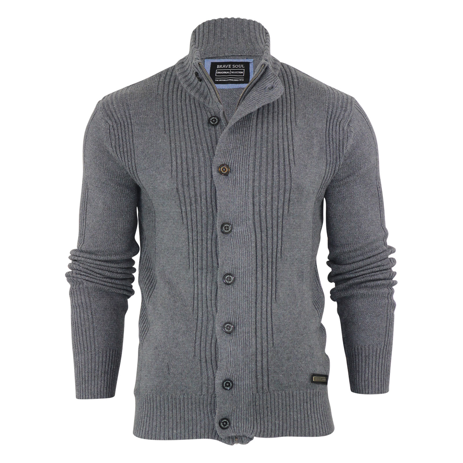 Mens Cardigan Jumper Brave Soul Mira Cotton Zip & Button Up Funnel ...
