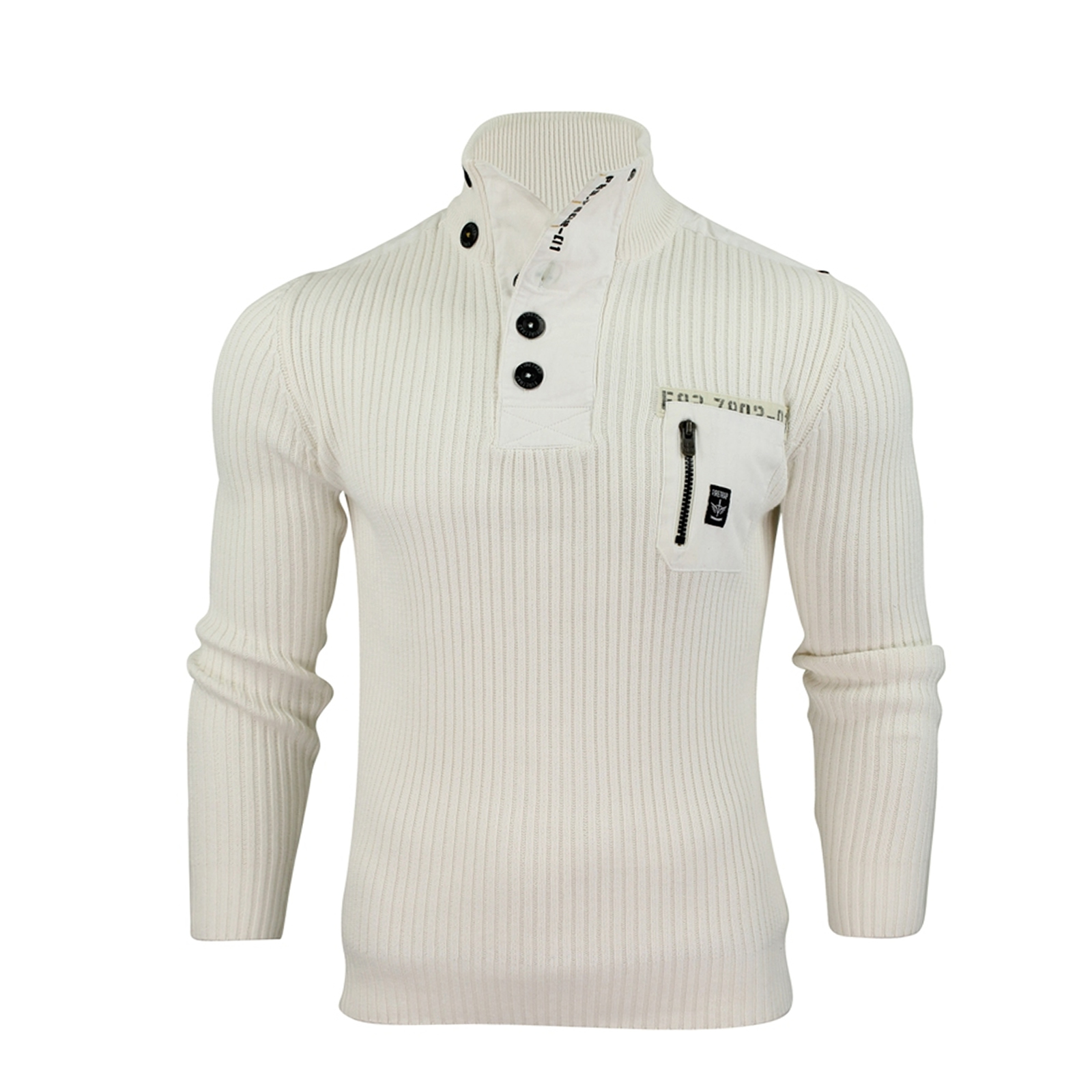 Mens Jumper Firetrap Wyndham Ribbed Funnel Neck Cotton Knitted ...