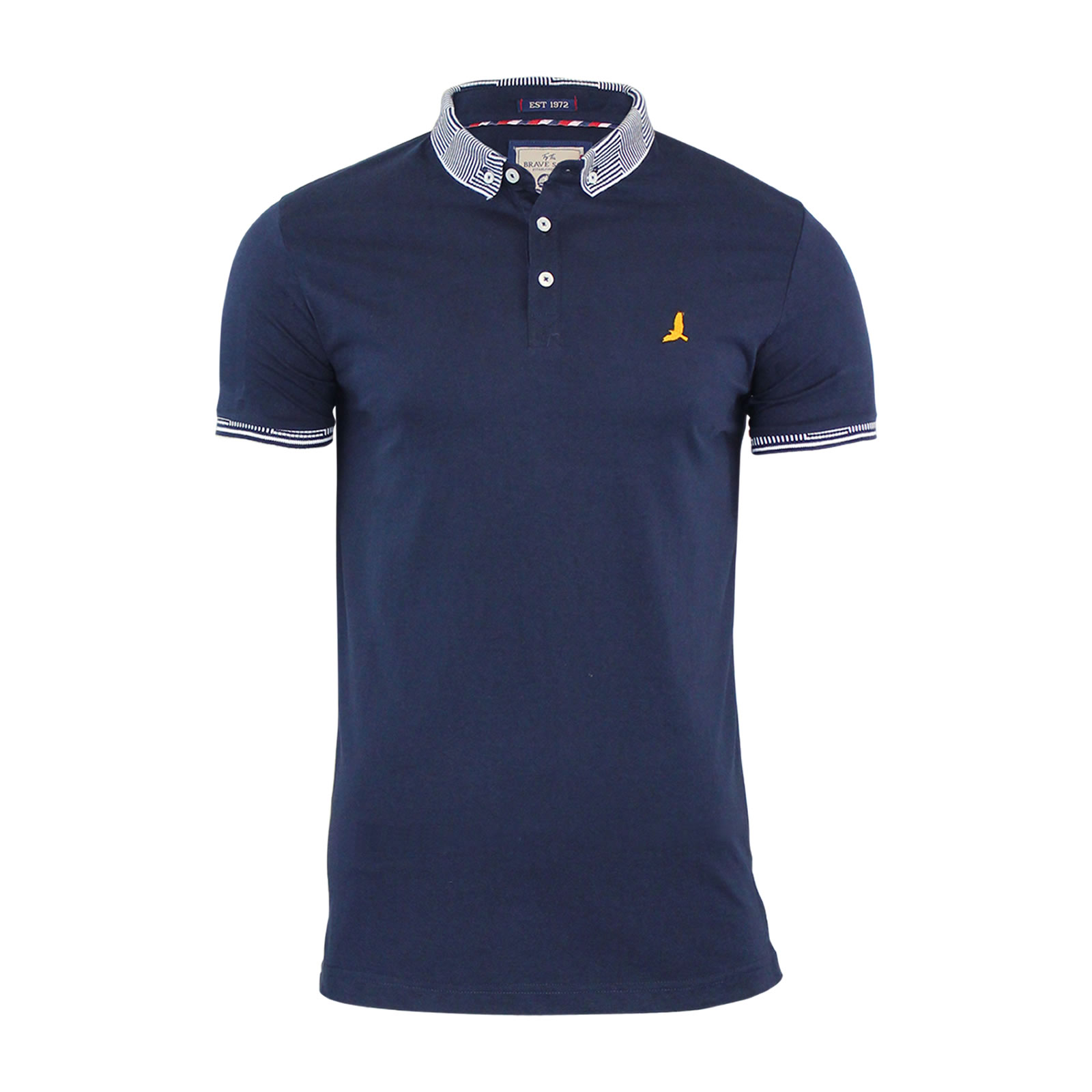 Mens polo t shirt brave soul glover cotton collared short for Short sleeve casual shirt