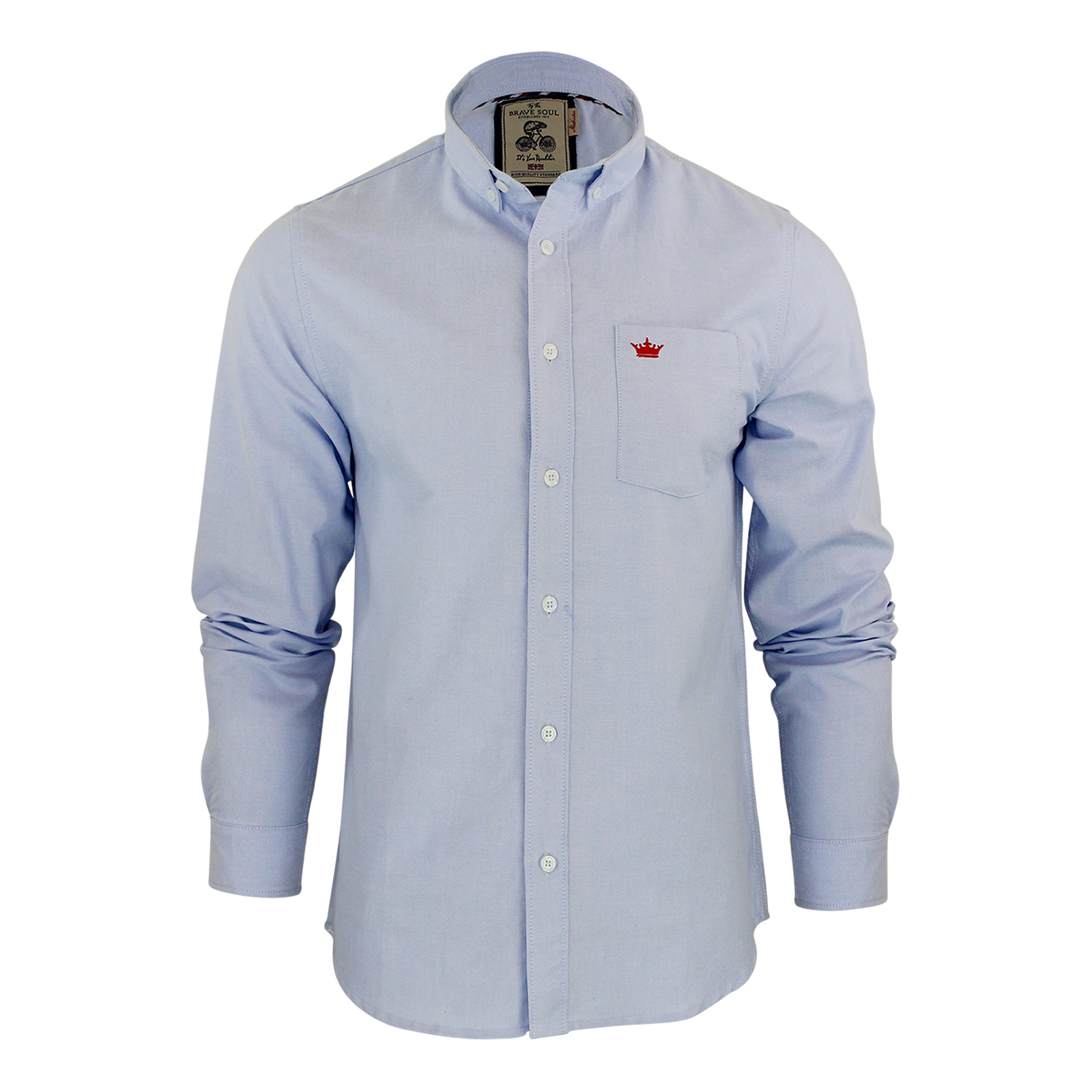 Mens shirt brave soul pompei long sleeve oxford cotton for Mens long sleeve casual cotton shirts