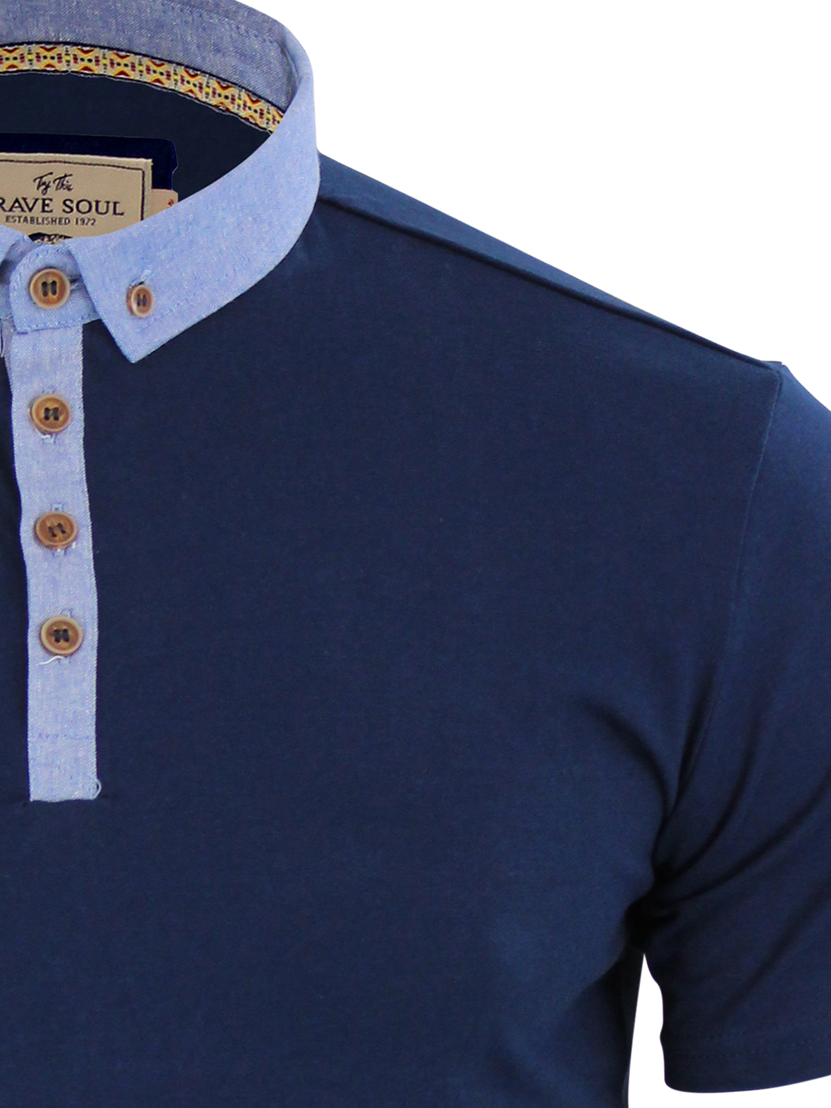 Mens-Polo-T-Shirt-Brave-Soul-Chimera-Chambray-Collared-Cotton-Casual-Top thumbnail 22