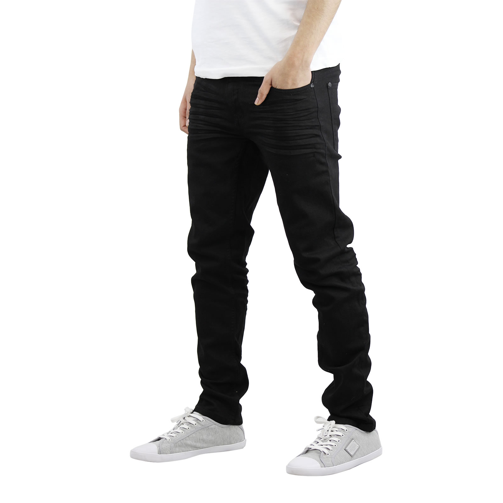 miniature 3 - Homme Crosshatch Jaco Slim Jeans stretch pantalon denim effet vieilli