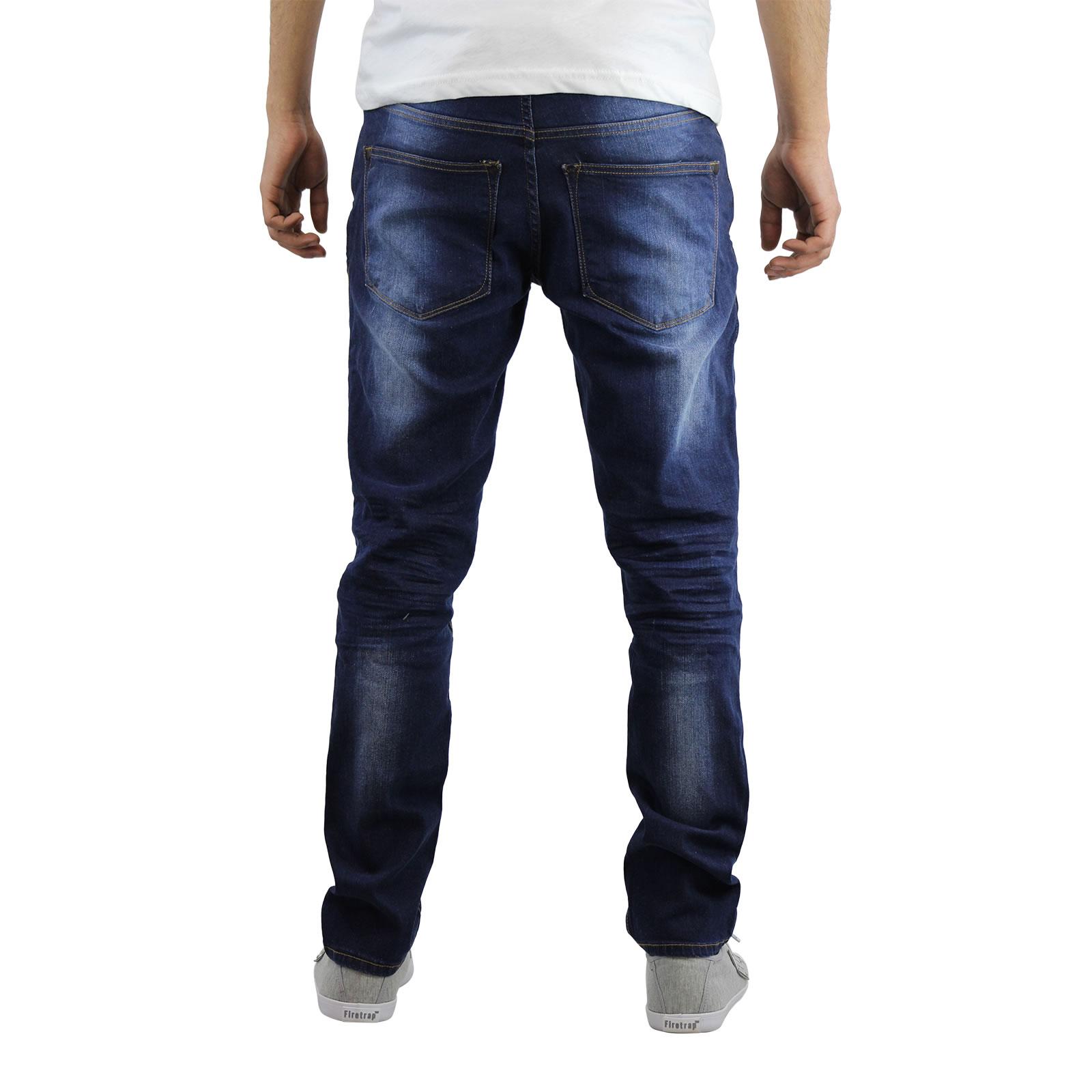 miniature 7 - Homme Crosshatch Jaco Slim Jeans stretch pantalon denim effet vieilli