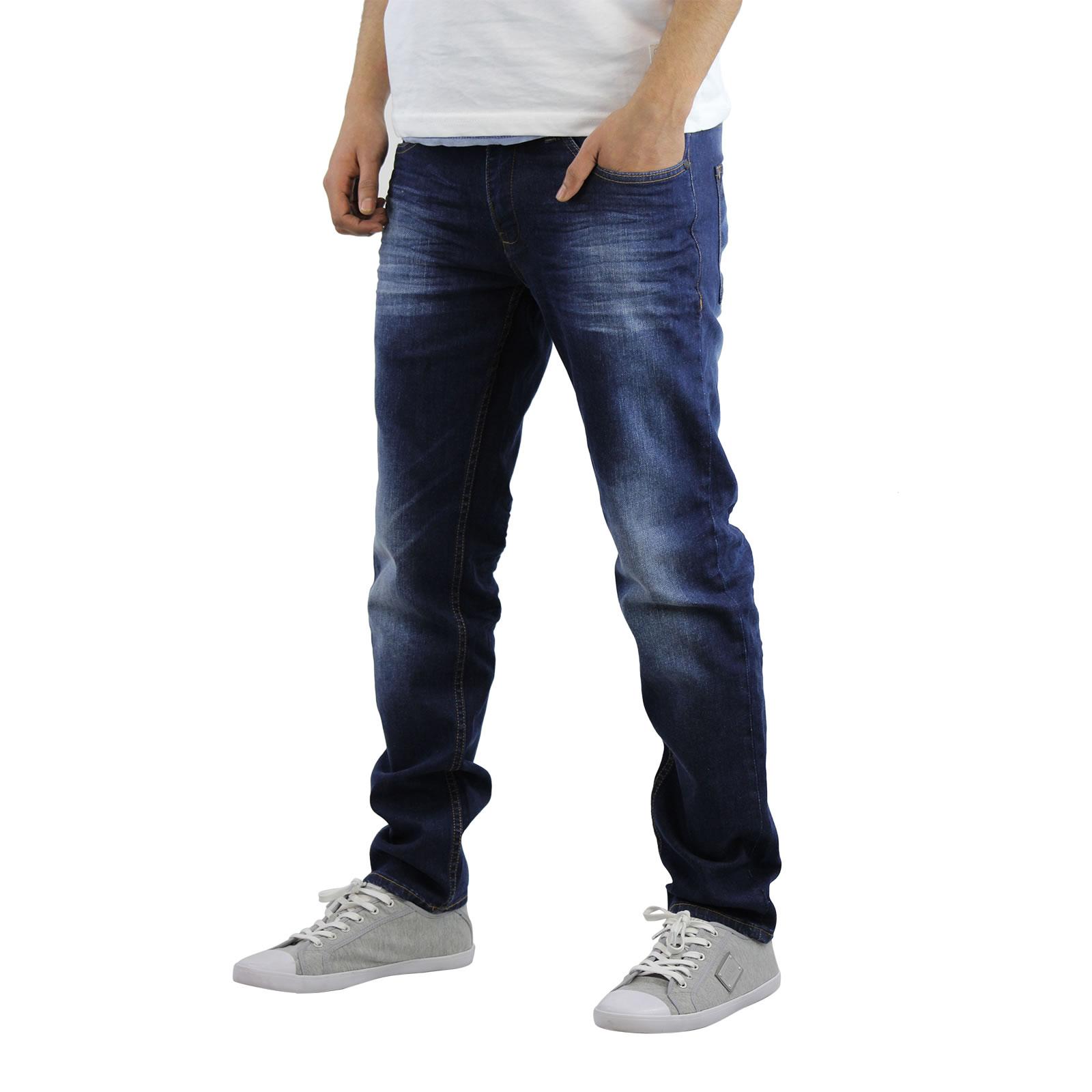 miniature 6 - Homme Crosshatch Jaco Slim Jeans stretch pantalon denim effet vieilli