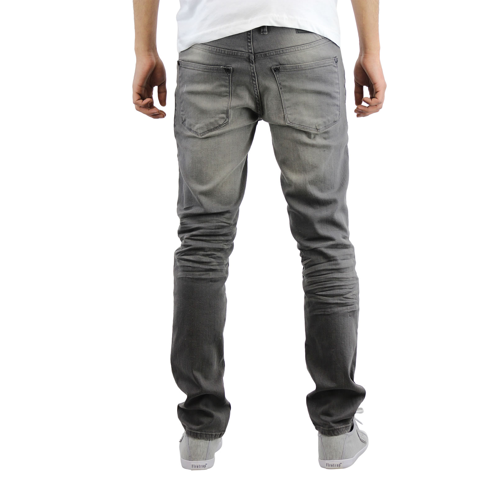 miniature 10 - Homme Crosshatch Jaco Slim Jeans stretch pantalon denim effet vieilli
