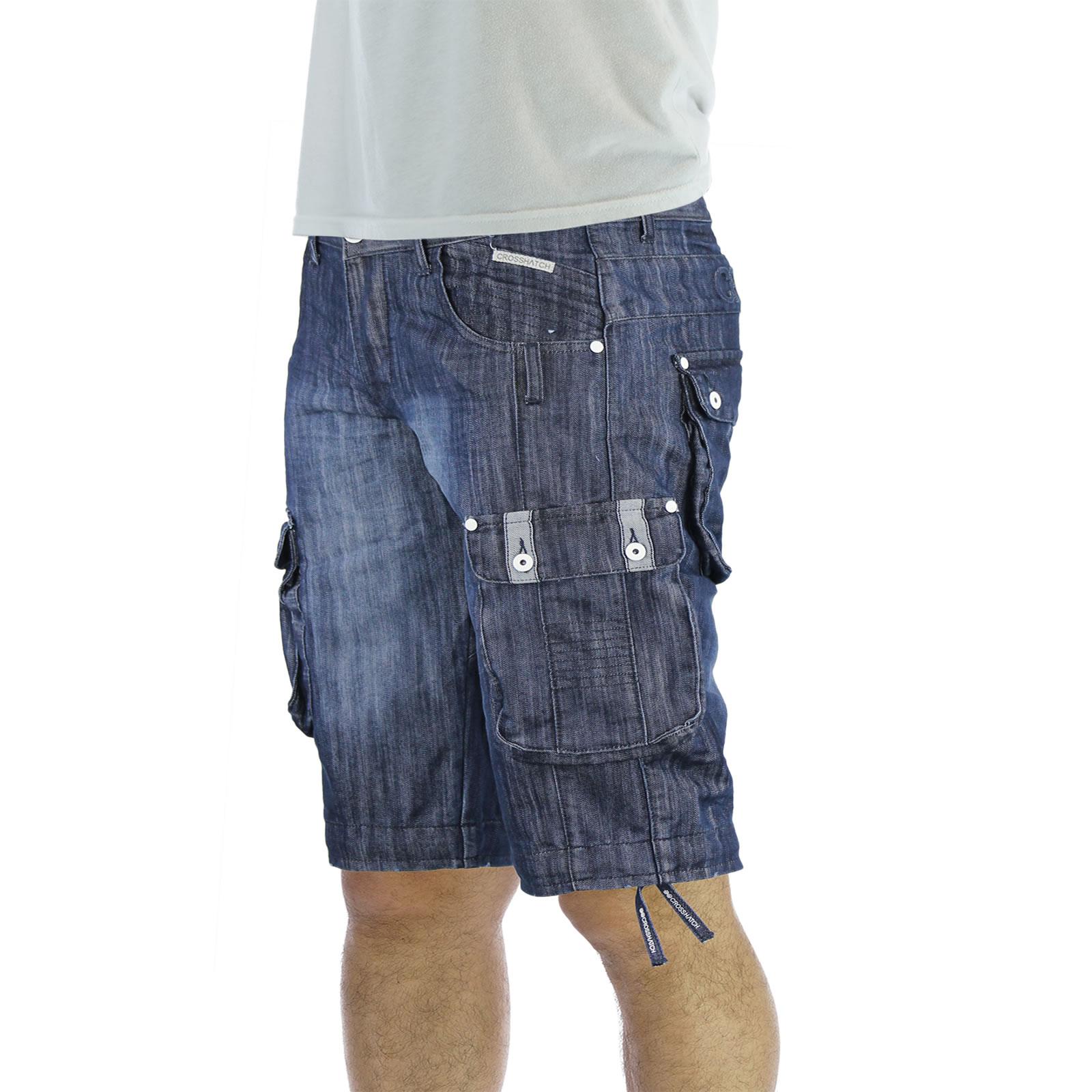 mens denim shorts crosshatch player cargo combat utility