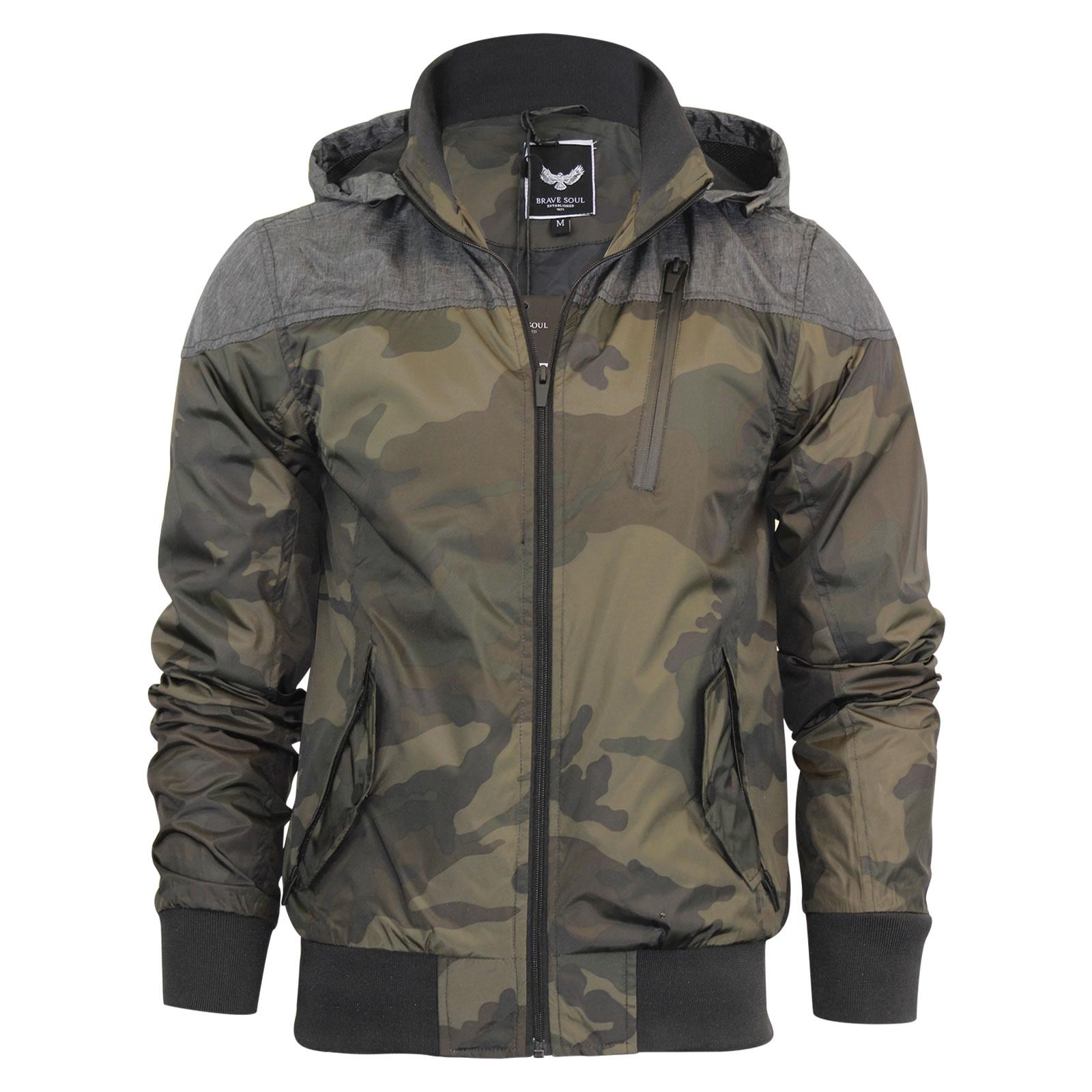 mens hooded jacket brave soul felix camoflauge summer. Black Bedroom Furniture Sets. Home Design Ideas