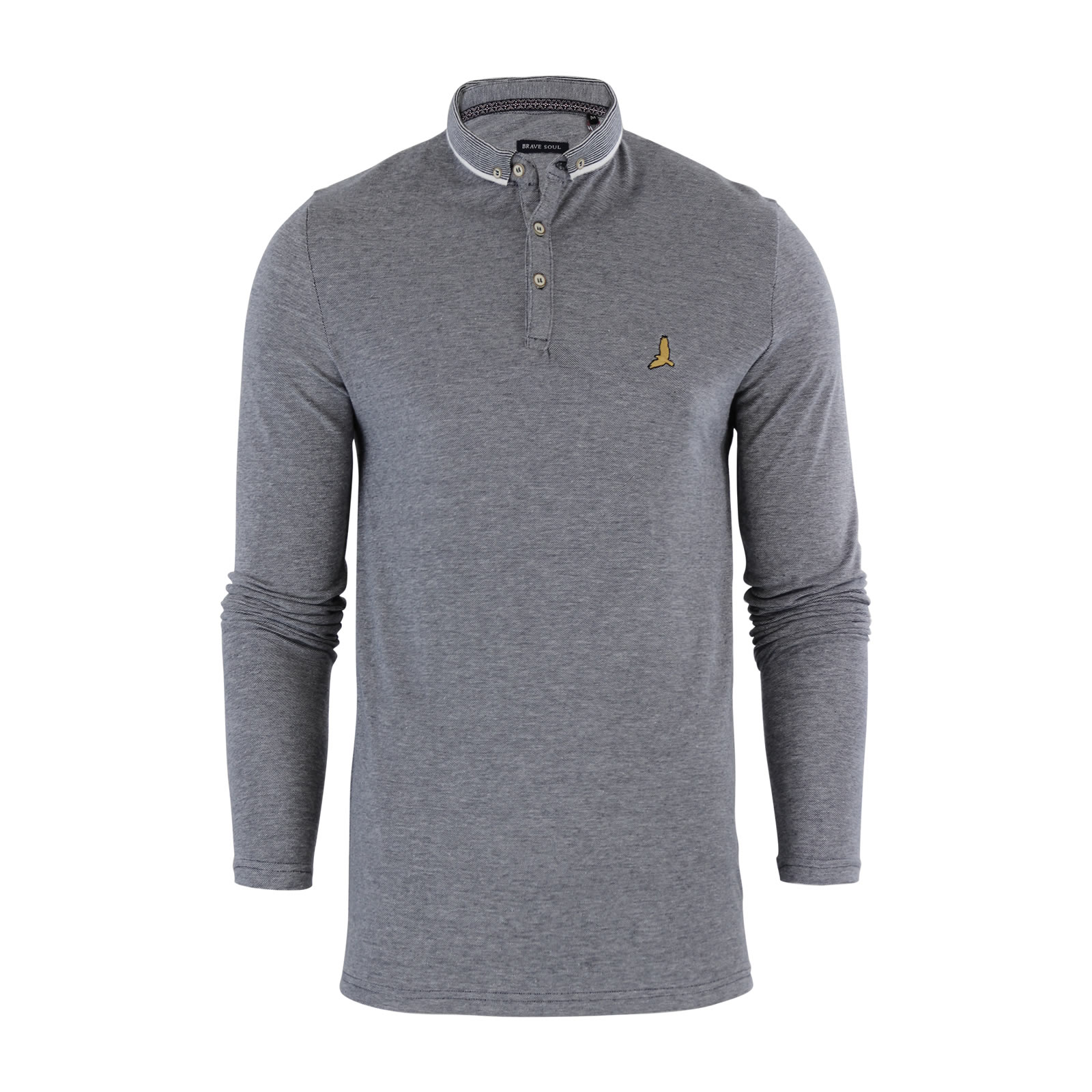 Mens Polo T Shirt Brave Soul Stage Collared Long Sleeve Cotton ...