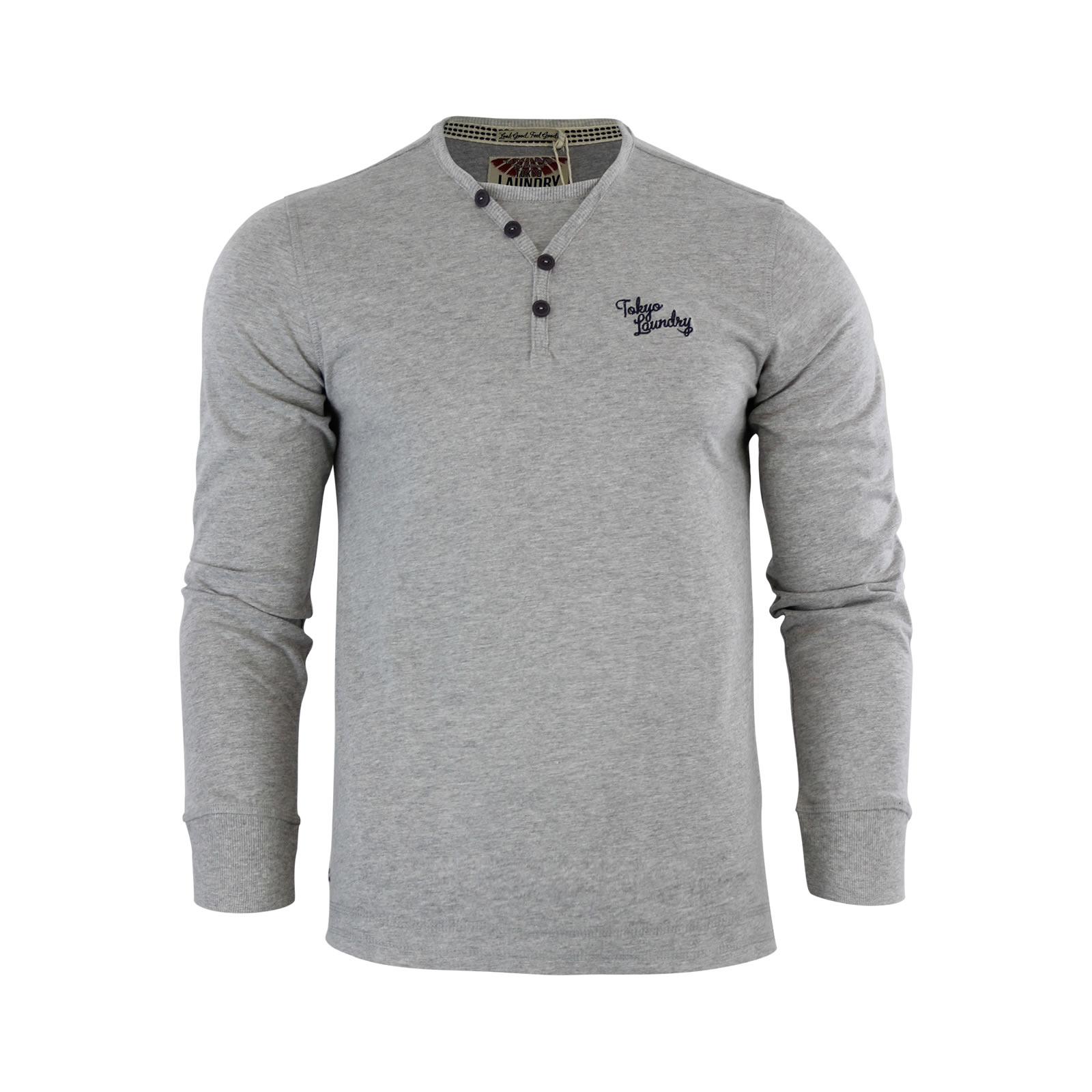 Mens t shirt tokyo laundry glen valley long sleeve cotton for Mock long sleeve t shirts