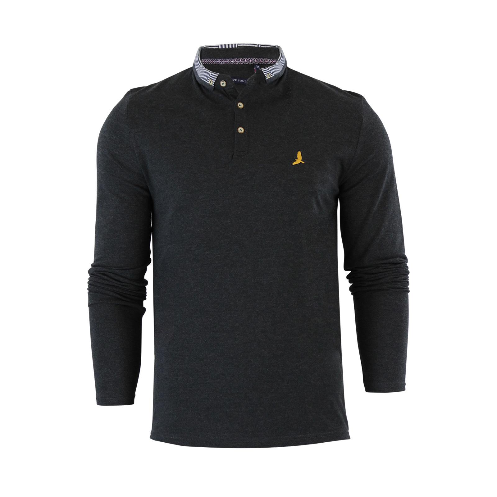 Mens polo t shirt brave soul hatter cotton pique long for Mens long sleeve pique polo shirts