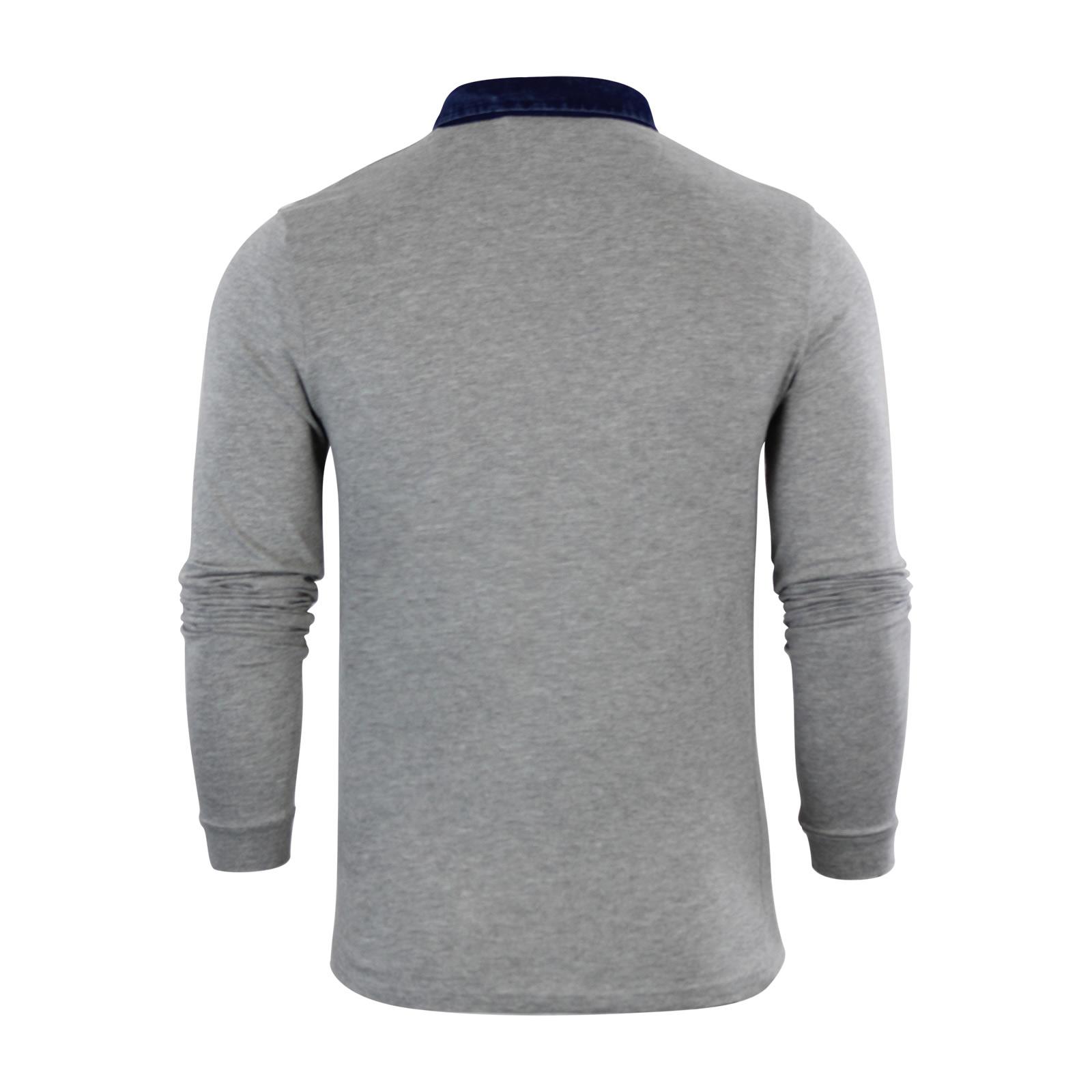 Mens-Polo-T-Shirt-Brave-Soul-Gospel-Denim-Collared-Long-Sleeve-Casual-Top thumbnail 3