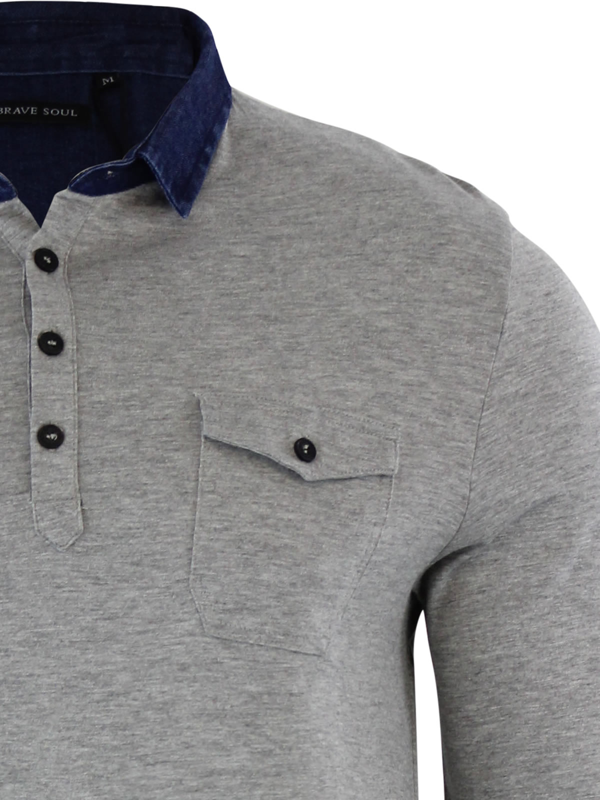 Mens-Polo-T-Shirt-Brave-Soul-Gospel-Denim-Collared-Long-Sleeve-Casual-Top thumbnail 4