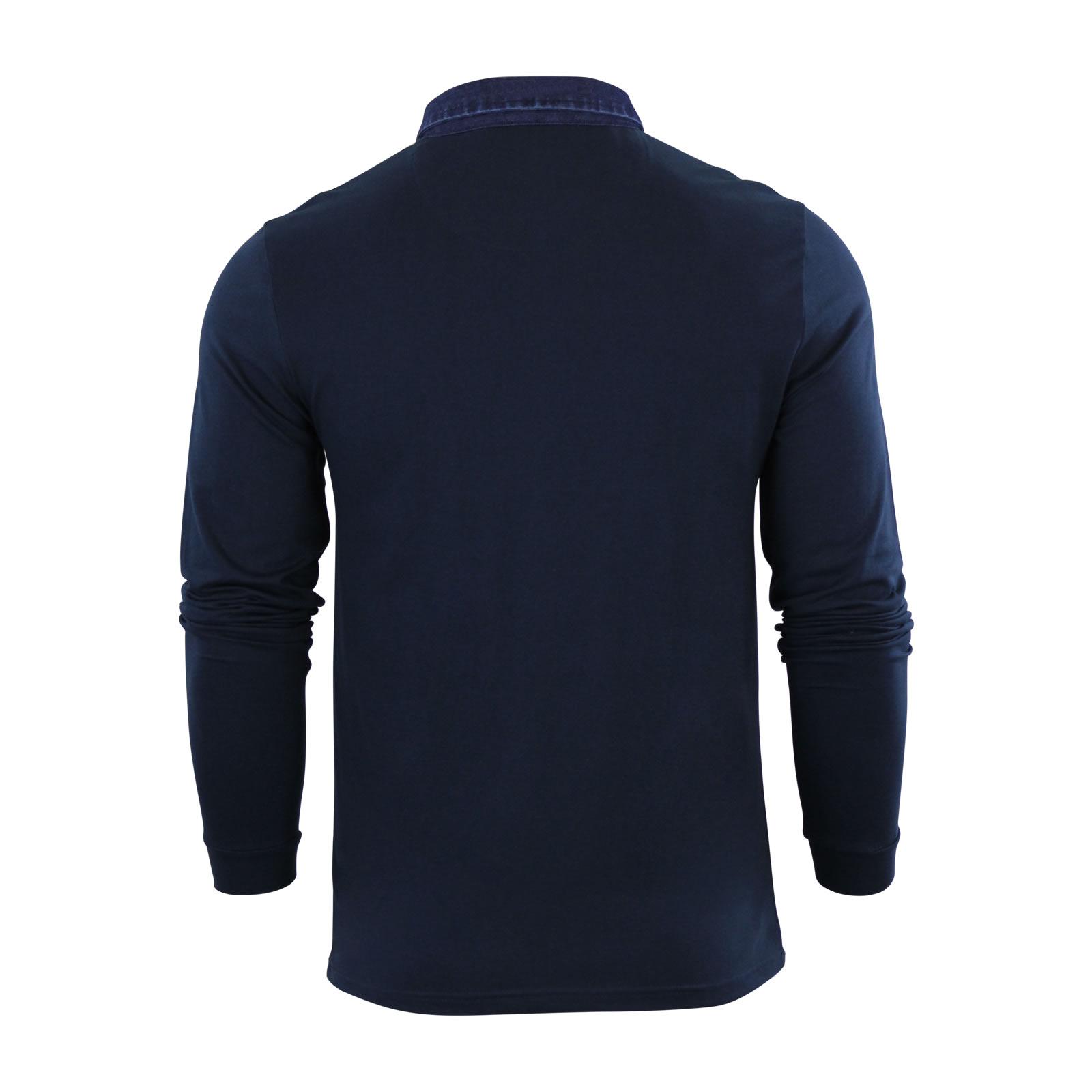 Mens Polo T Shirt Brave Soul Gospel Denim Collared Long Sleeve