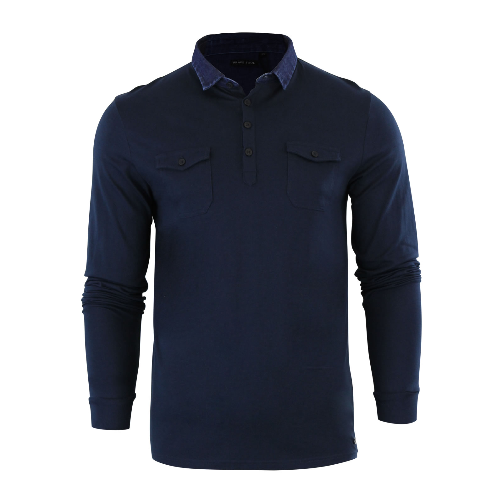 Mens polo t shirt brave soul gospel denim collared long for Mens casual collared shirts