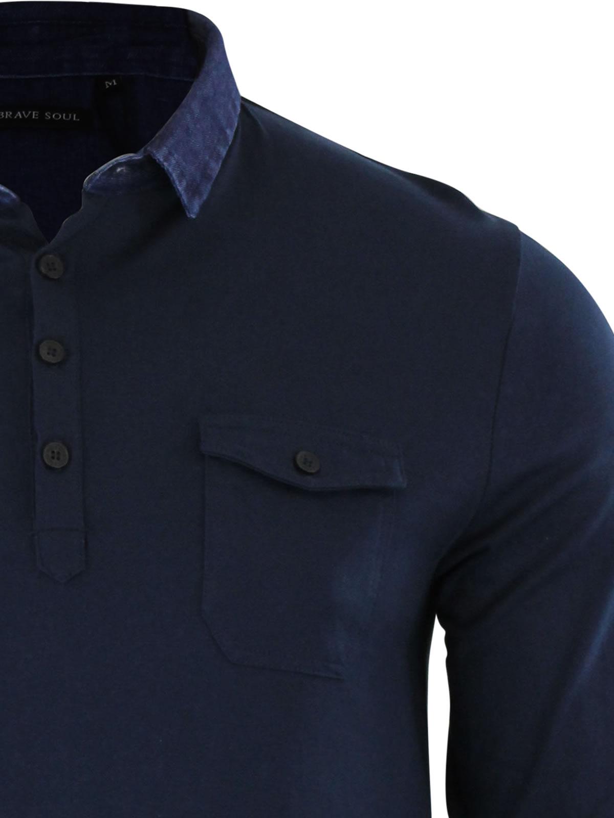 Mens-Polo-T-Shirt-Brave-Soul-Gospel-Denim-Collared-Long-Sleeve-Casual-Top thumbnail 7