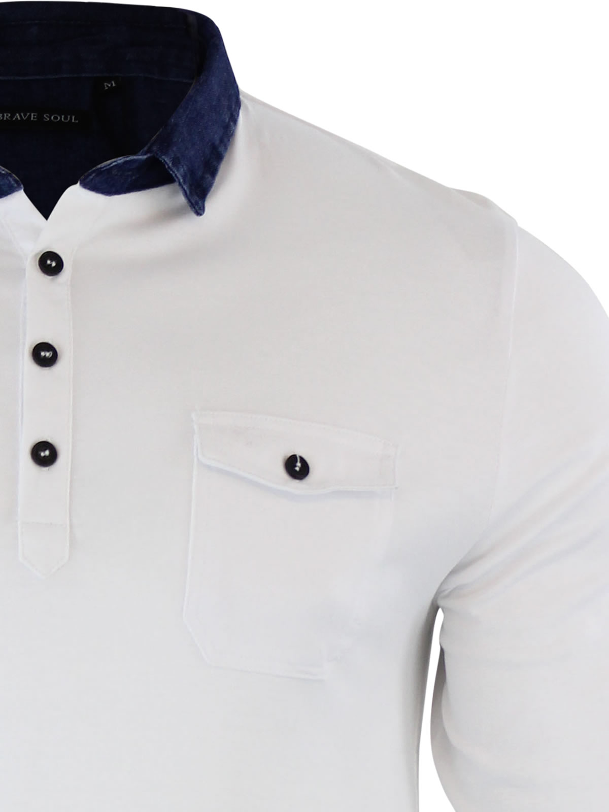 Mens-Polo-T-Shirt-Brave-Soul-Gospel-Denim-Collared-Long-Sleeve-Casual-Top thumbnail 10
