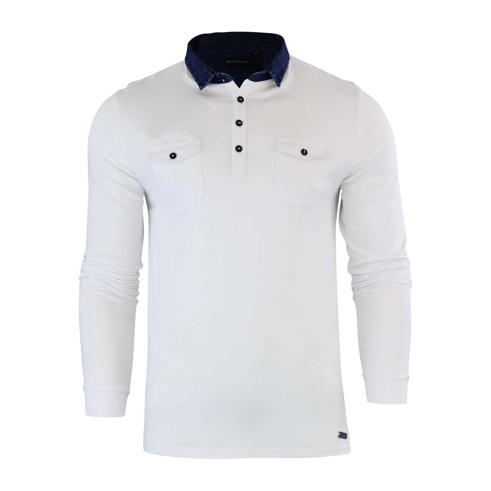 Mens Polo T Shirt Brave Soul Gospel Denim Collared Long Sleeve ...